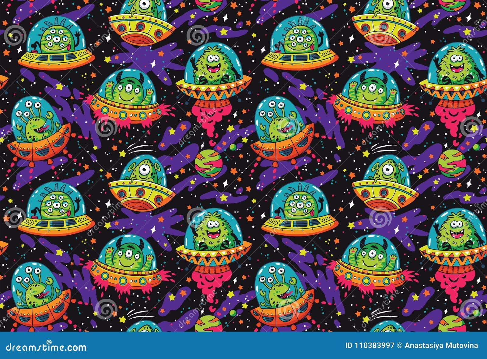 Leuk beeldverhaalufo in het ruimte naadloze patroon Vector illustratie