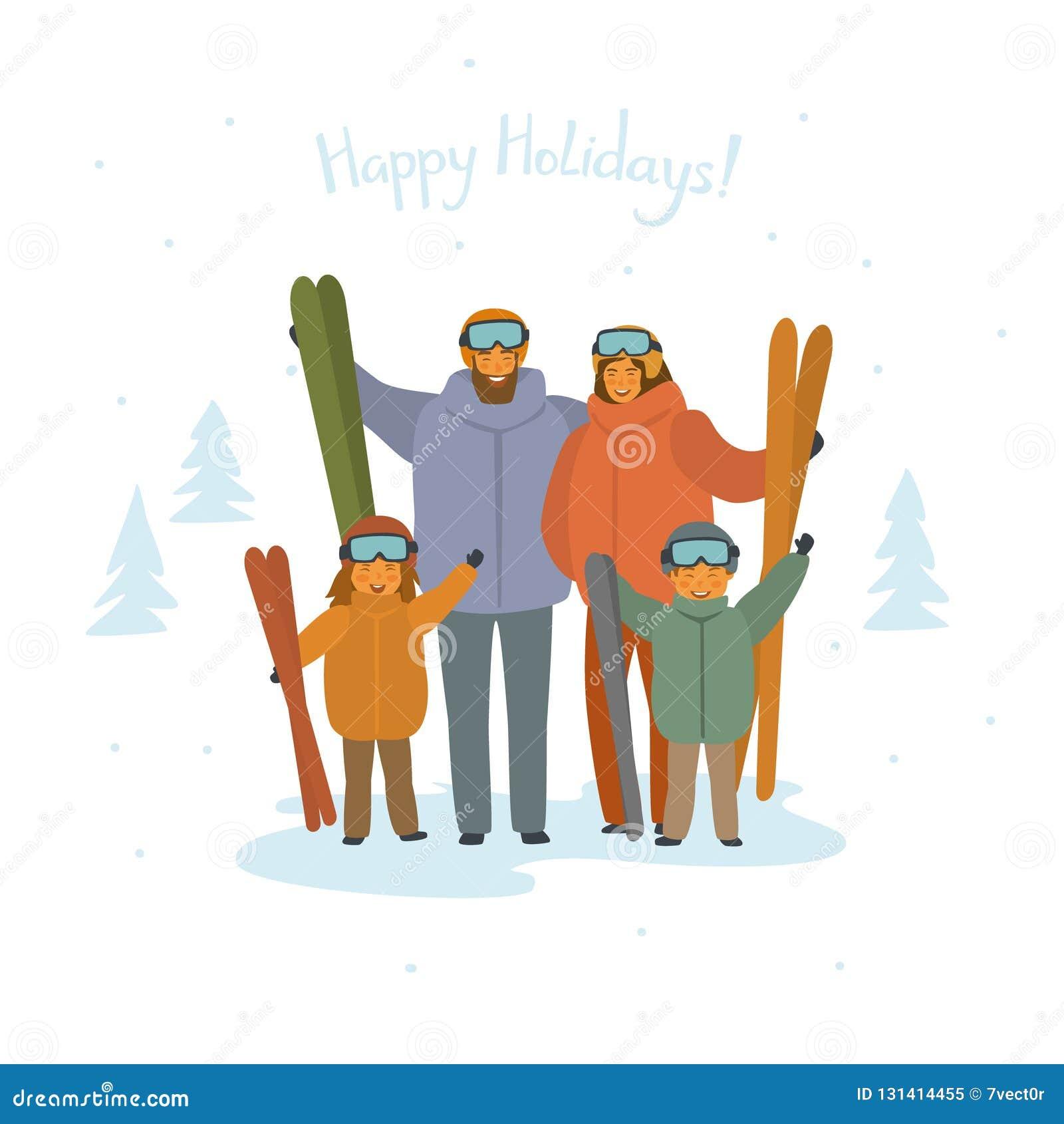 Leuk de skiërsportret van de beeldverhaalfamilie, wintersporten