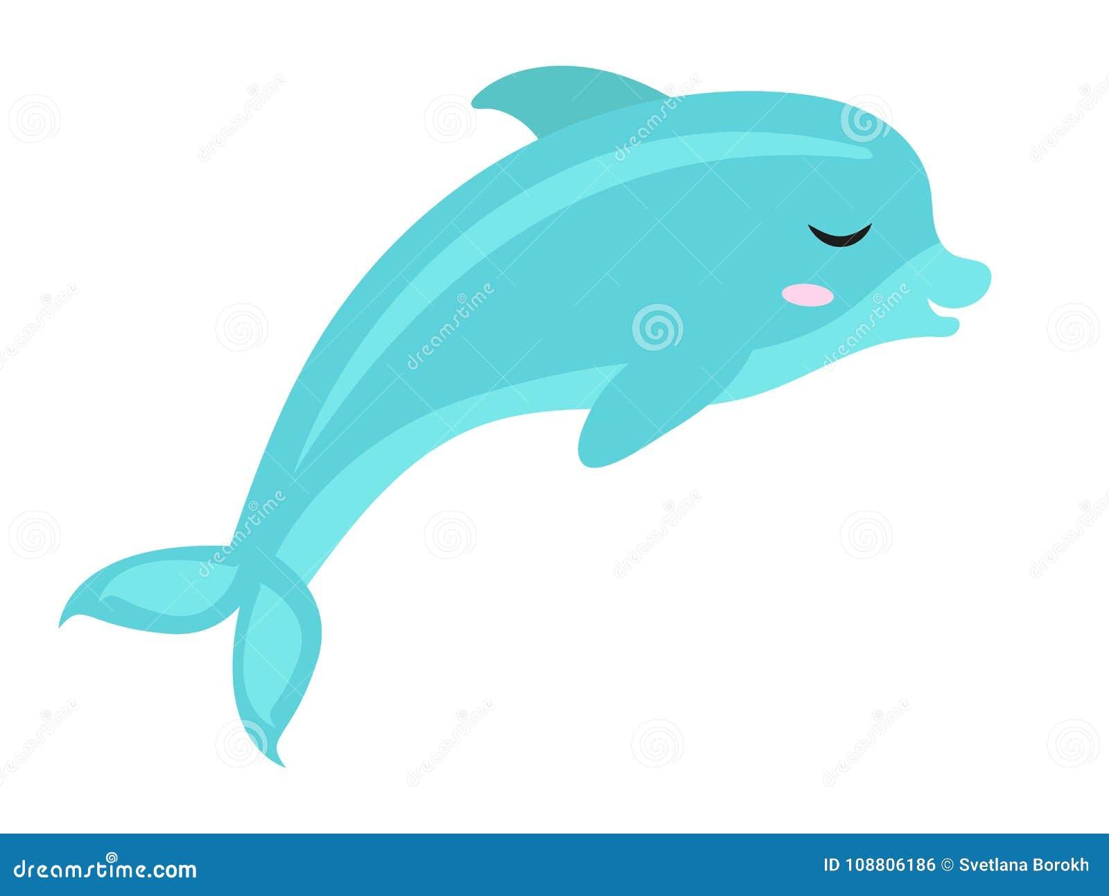 Leuk dolfijnpictogram, vlak, beeldverhaalstijl Geïsoleerdj op witte achtergrond Vector illustratie