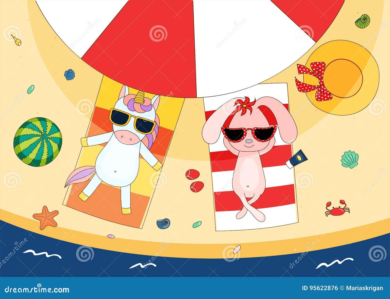 c7da005e680042 Hand getrokken vectorillustratie van een leuke konijntje en eenhoorn die in  zonnebril op handdoeken