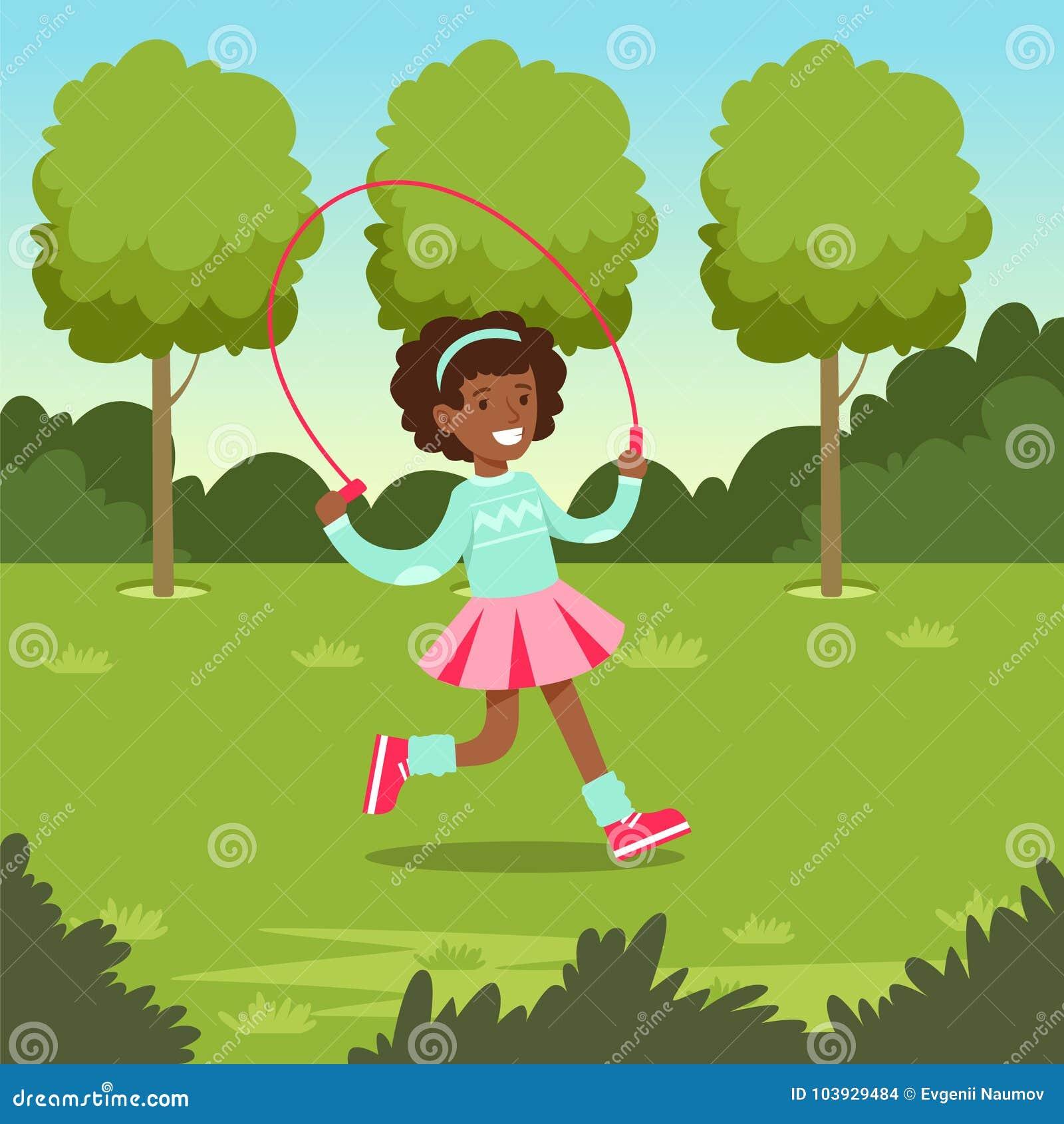 Leuk glimlachend Afrikaans meisje die met touwtjespringen in het park springen, vectorillustratie van de jonge geitjes de openluc