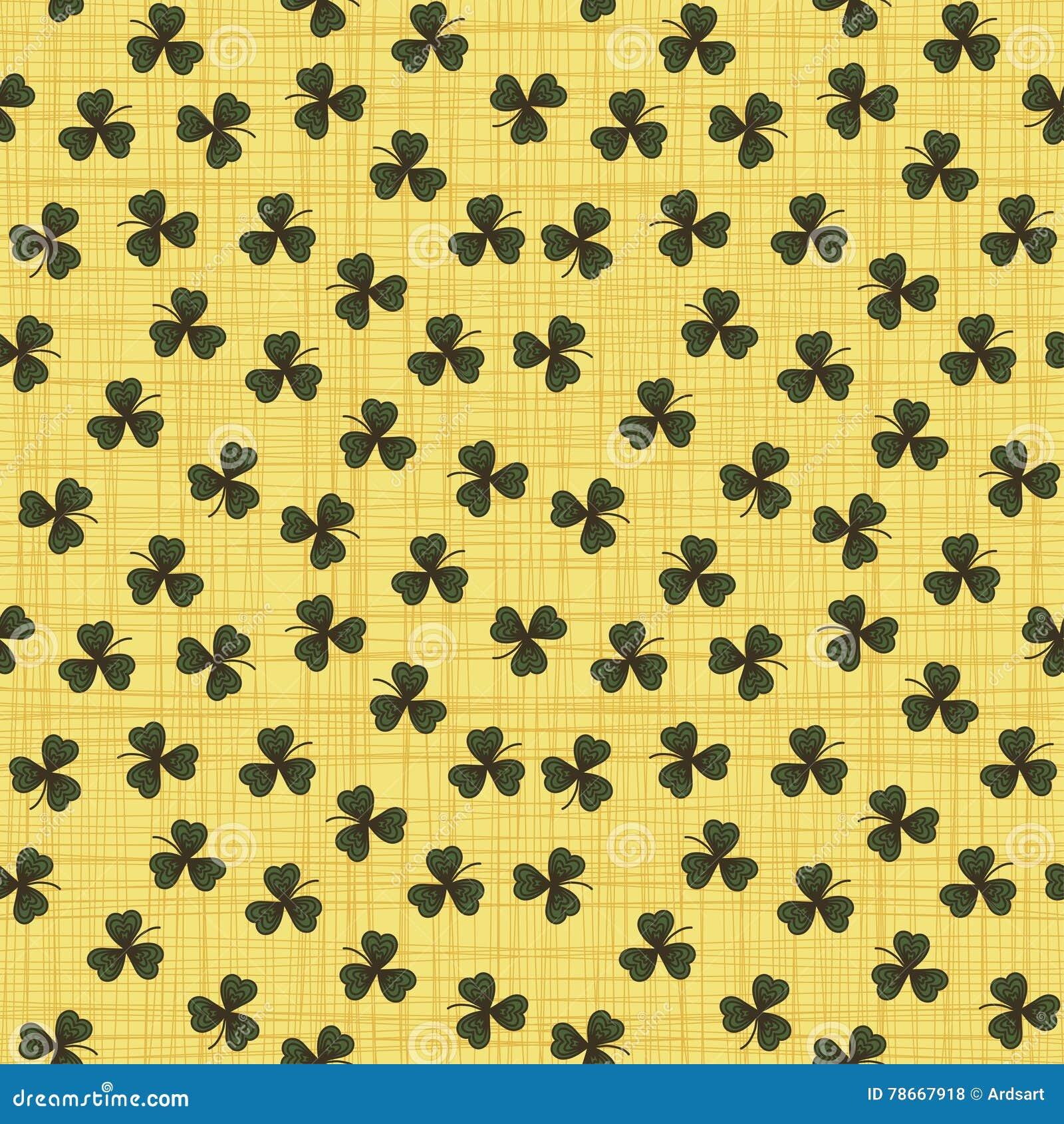 Leuk grappig naadloos patroon als achtergrond met groene klaverbladeren