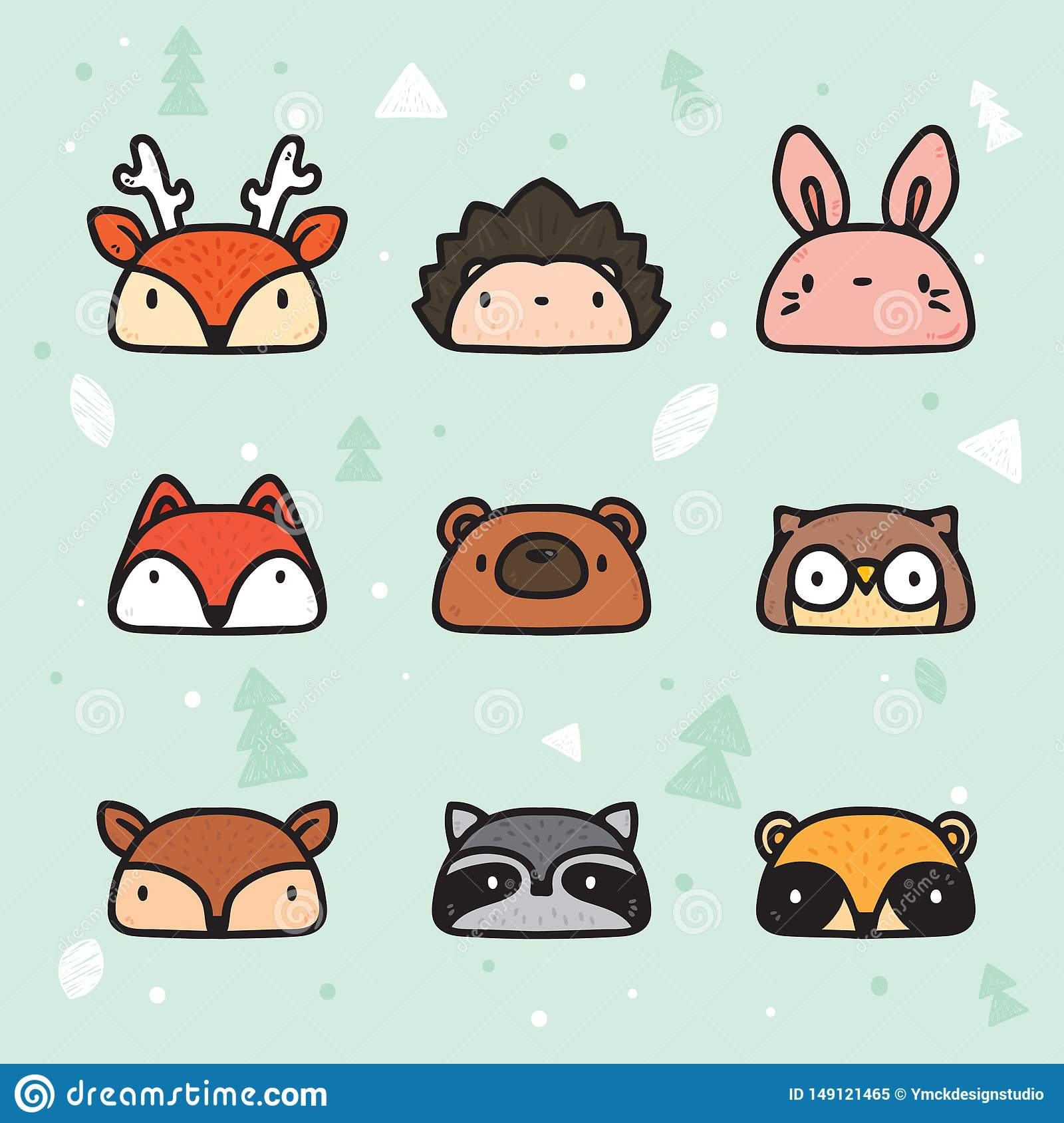 Leuk Hand Getrokken Forest Animal Faces Collection