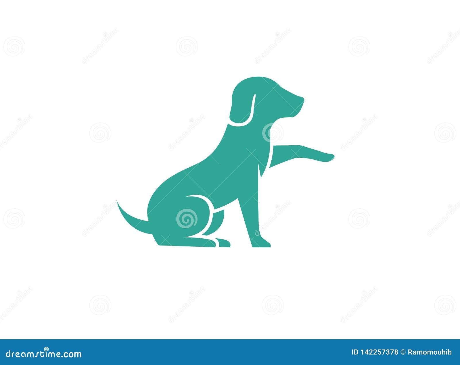 Leuk hond zitting en het Schudden handembleem