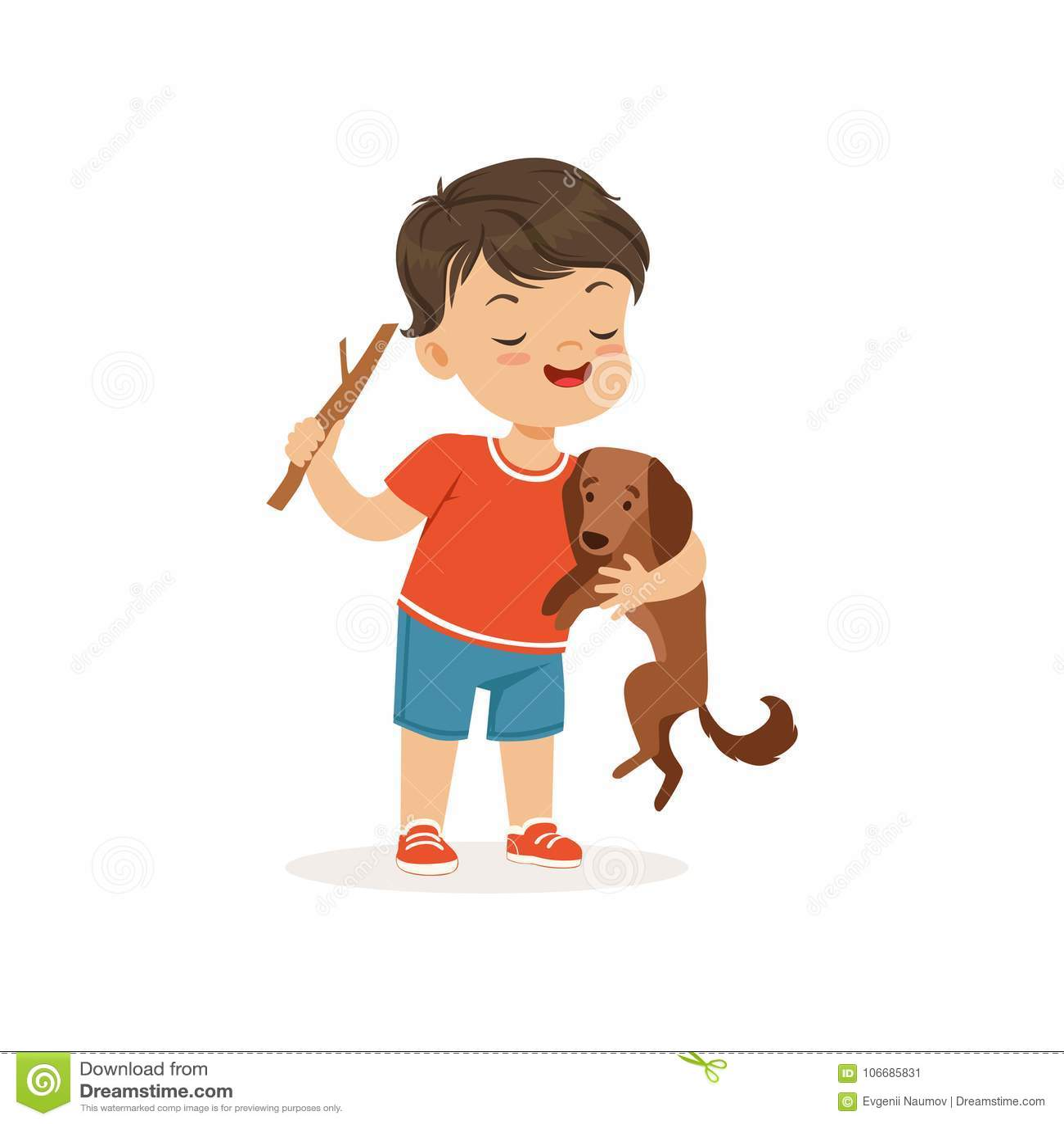 Leuk intimideer jongen die weinig hond, vrolijke gangster plagen weinig jong geitje, de slechte vectorillustratie van het kindged