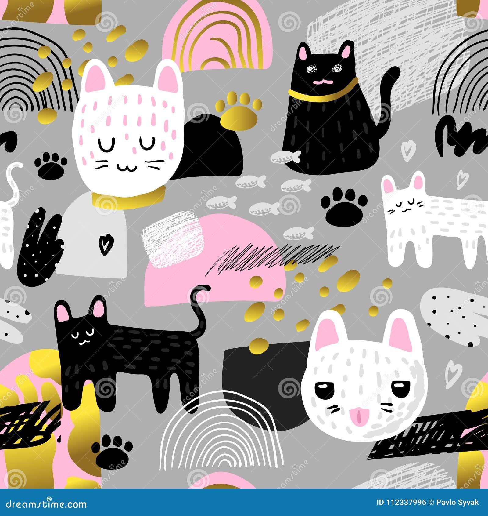 Leuk katten naadloos patroon Kinderachtige Achtergrond met Katje en Abstracte Elementen Babyontwerp voor Stof, Textiel