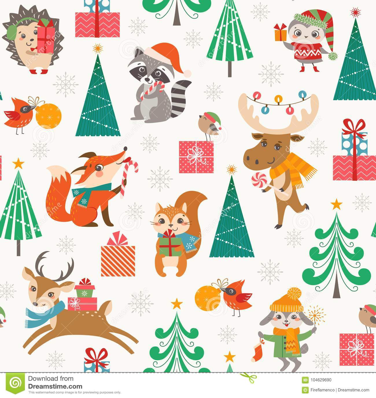 Download Leuk Kerstmis Bospatroon Met Gelukkige Beeldverhaaldieren Vector Illustratie - Illustratie bestaande uit hoed, vogel: 104629690
