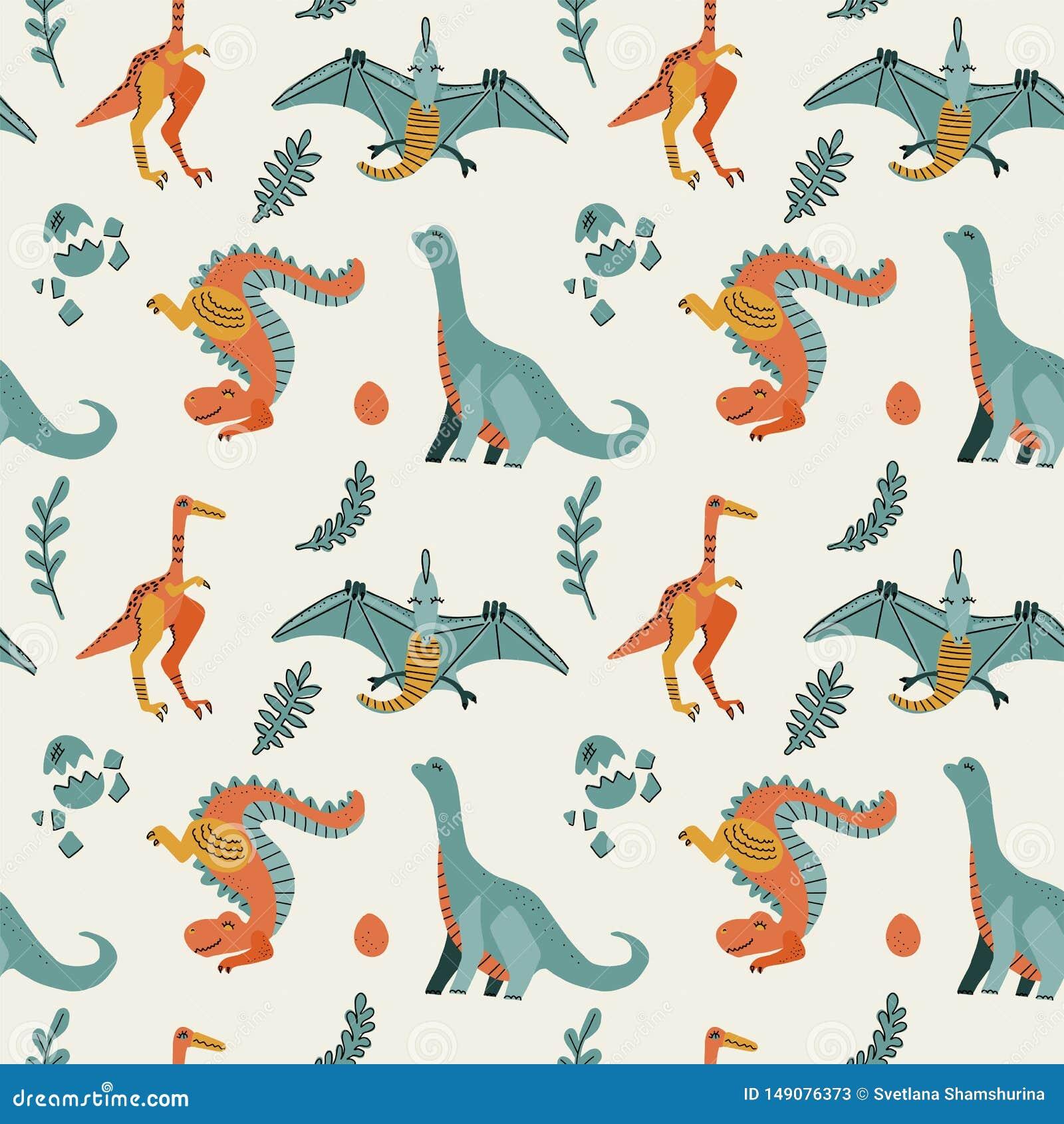 Leuk kinderachtig naadloos vectorpatroon met dinosaurussen t -t-rex met eieren, decor De grappige pterodactylus van beeldverhaald