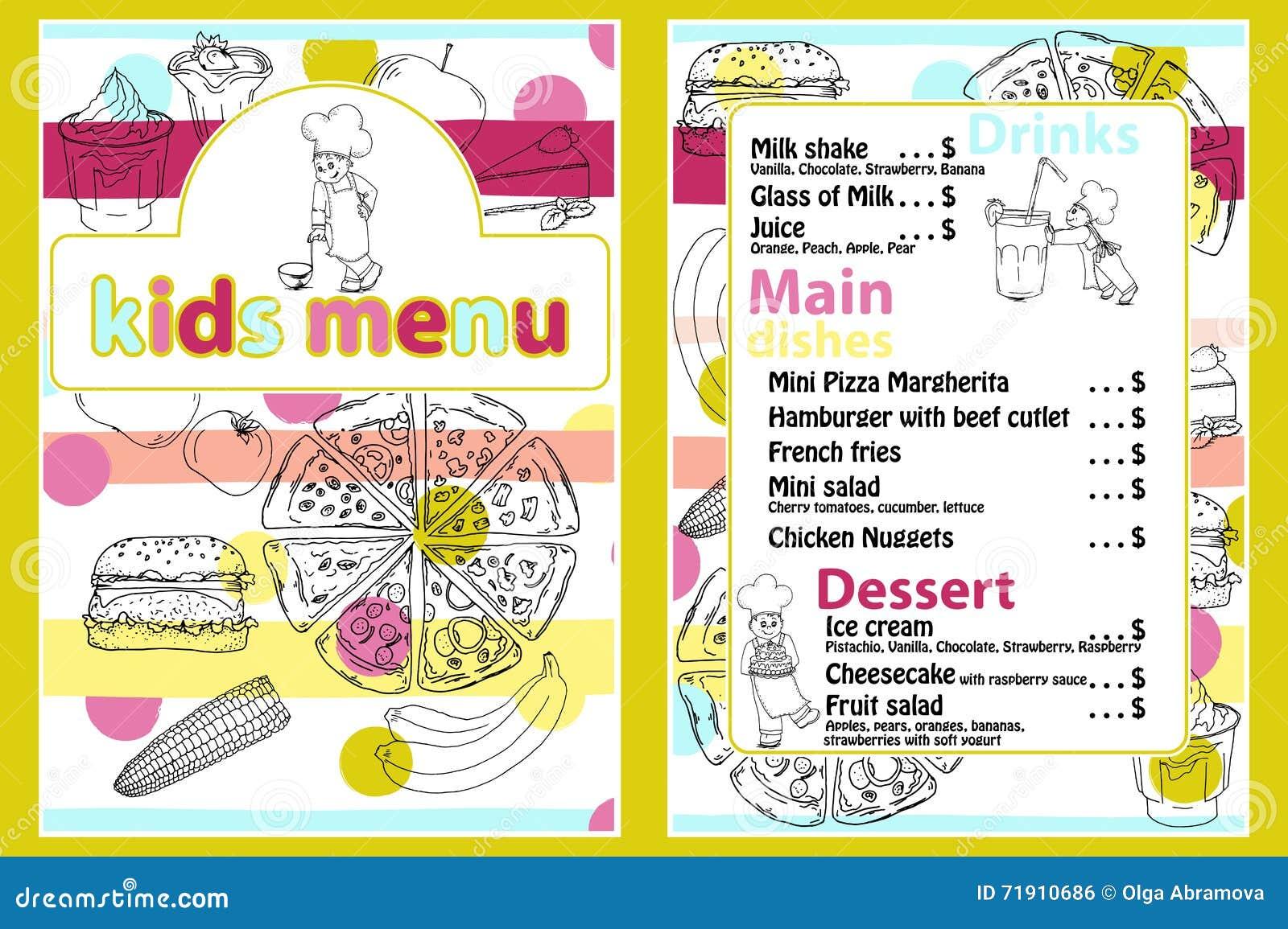 Leuk kleurrijk het menumalplaatje van de jonge geitjesmaaltijd met de grappige jongen van de beeldverhaalkeuken Verschillende typ