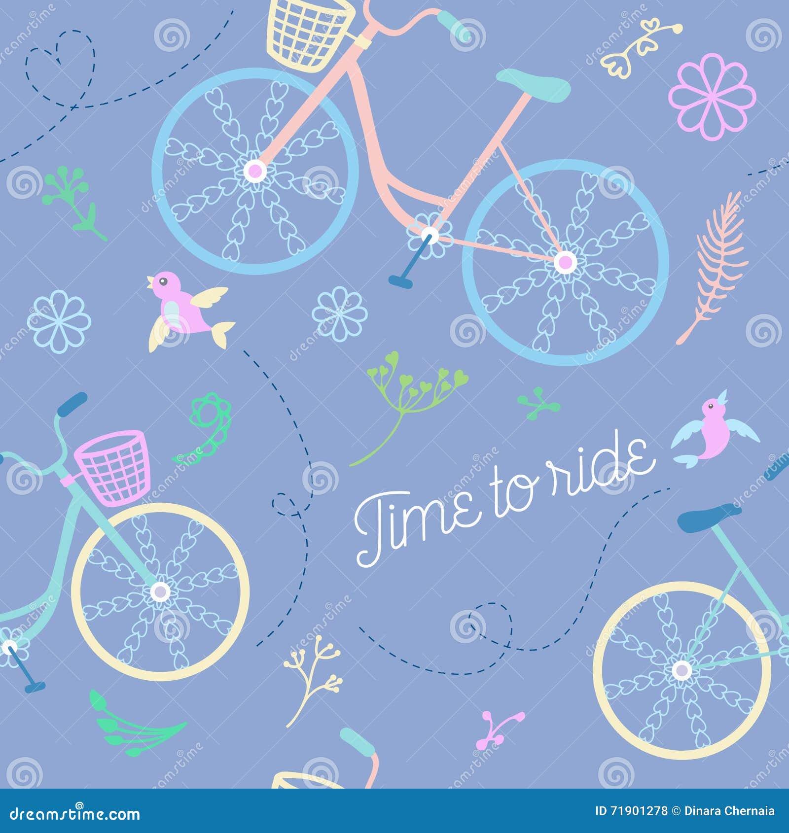 Leuk kleurrijk mooi fietsen naadloos patroon met bloemen en vogels en decoratieve wielen
