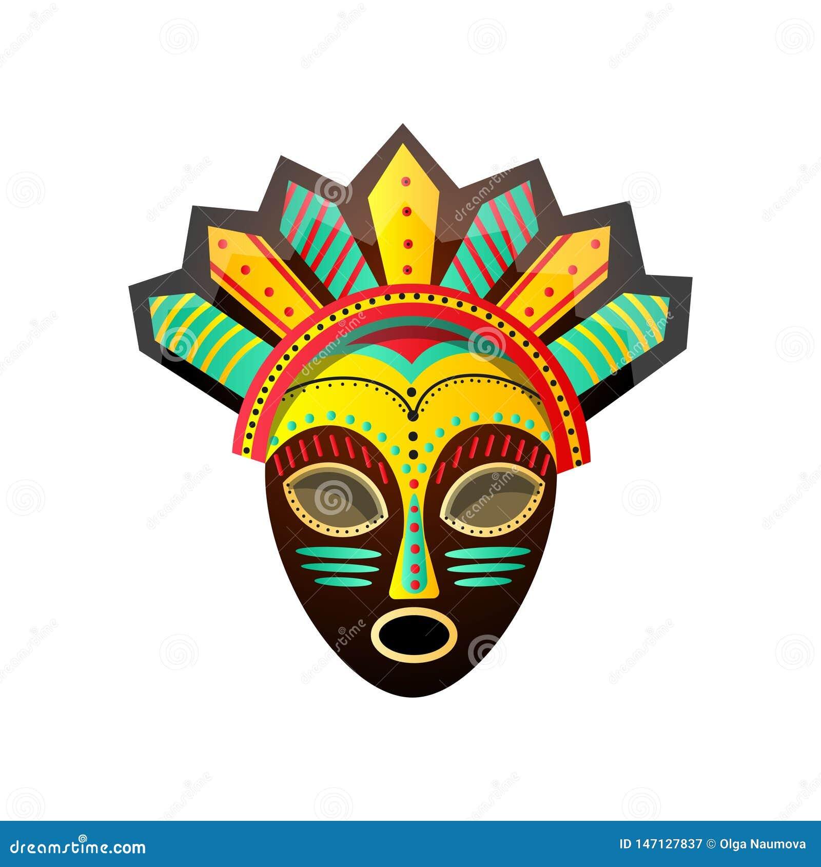Leuk kleurrijk ritueel Afrikaans masker, met rode, groene, gele kleur