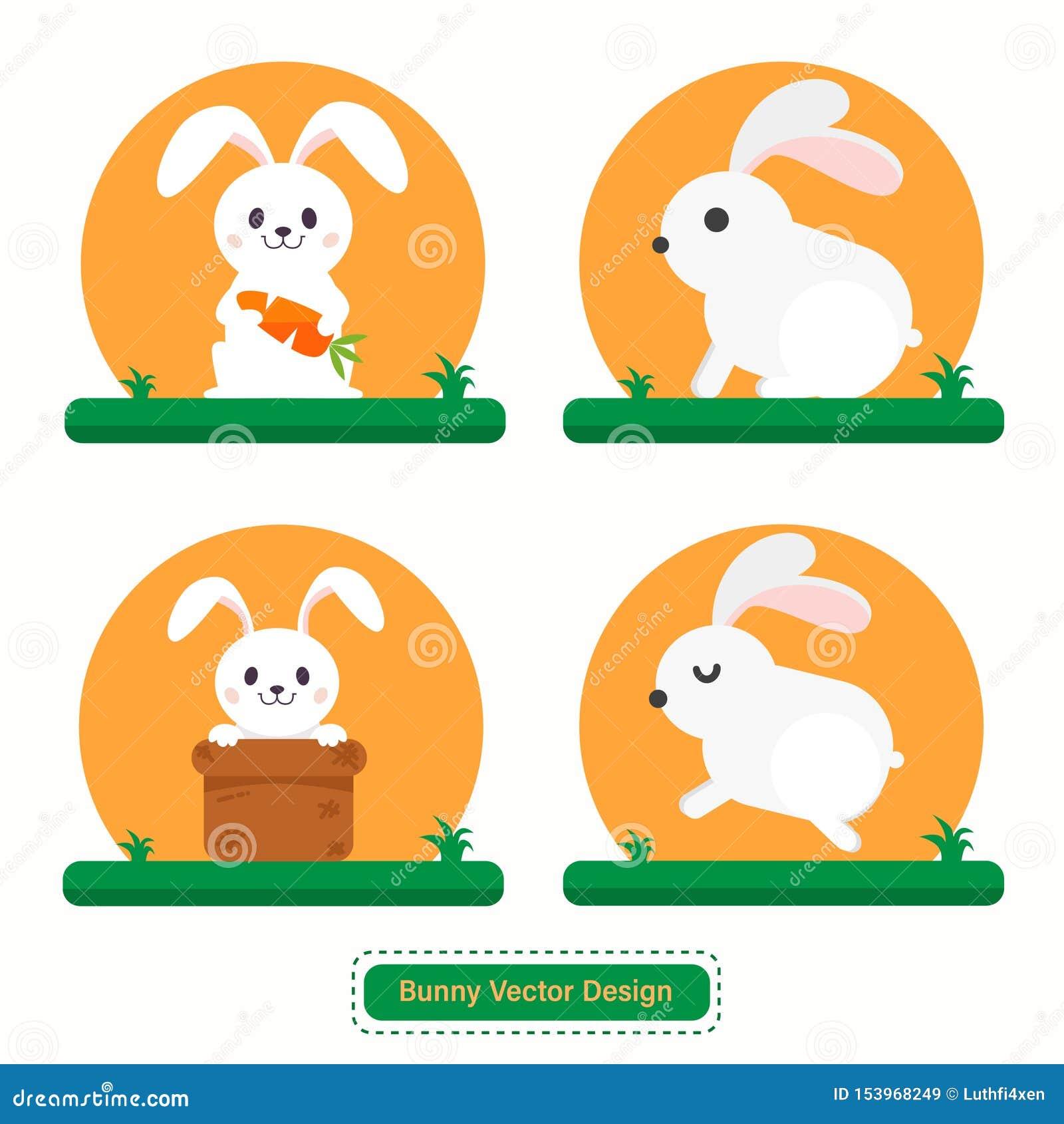 Leuk Konijn of Bunny Vector voor pictogrammalplaatjes of presentatieachtergrond
