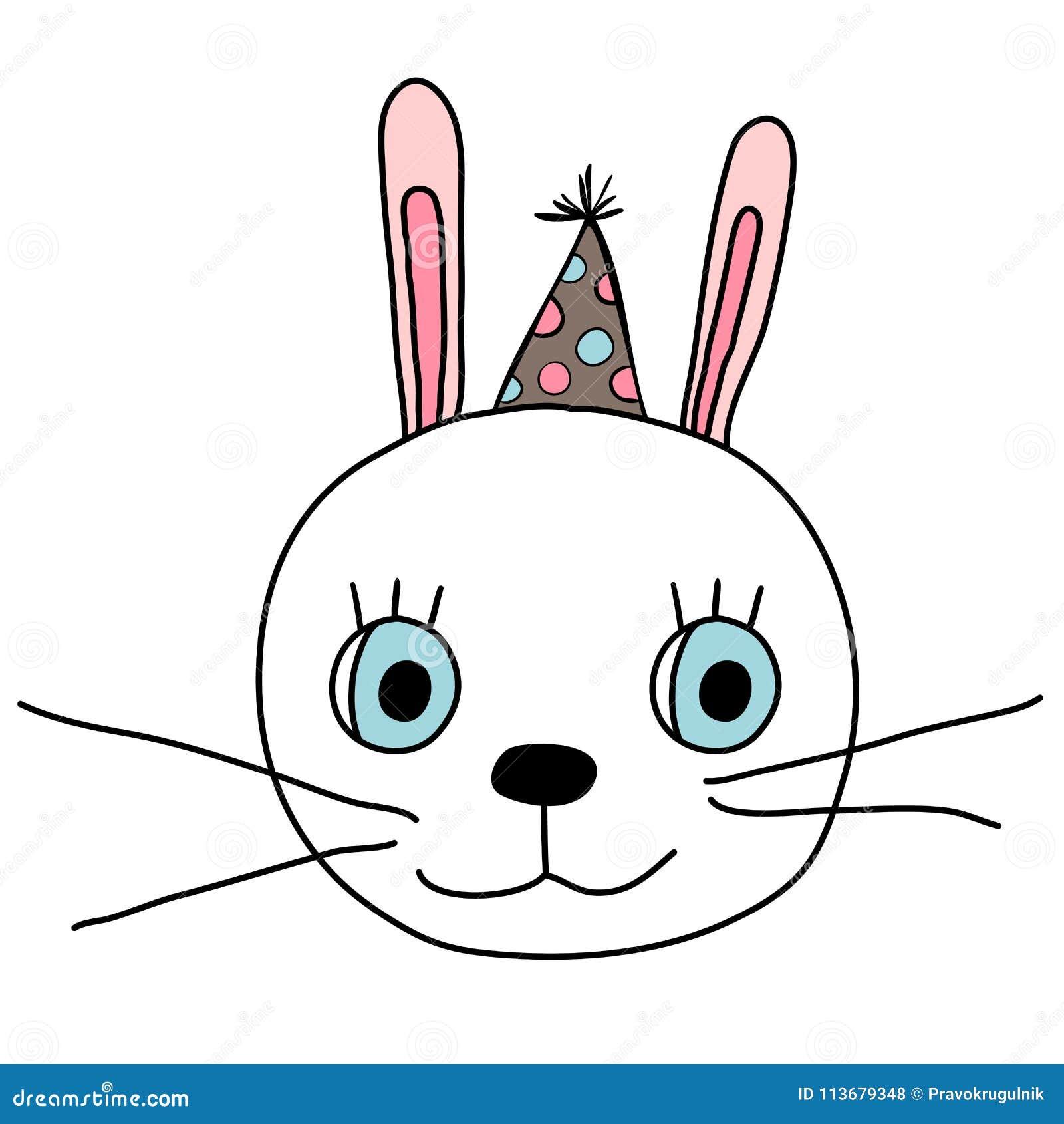 Leuk konijntjesgezicht met de hoed van de pretpartij met punten