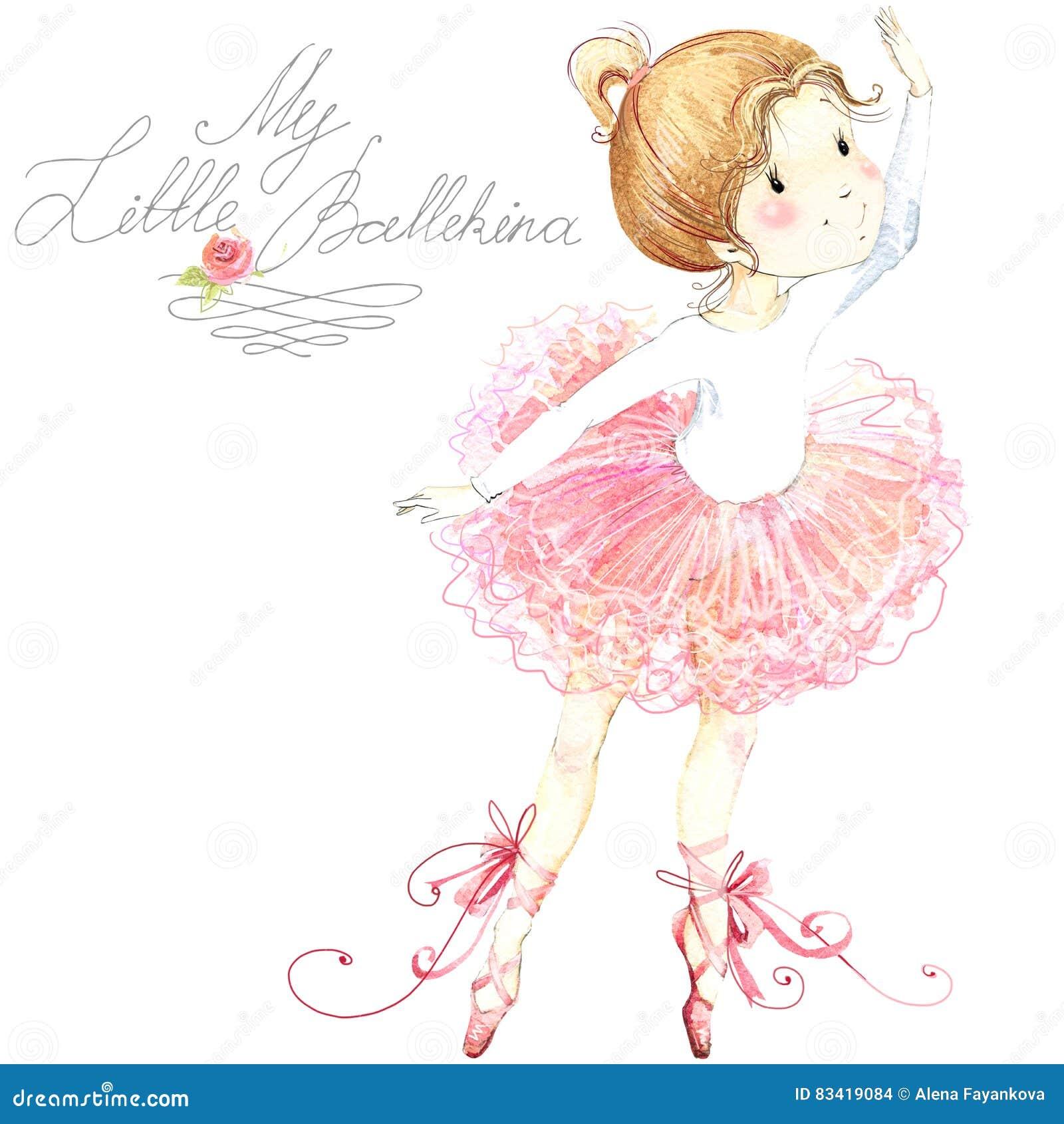 Leuk meisje Ballerina Leuk ballerinameisje Ballerinawaterverf