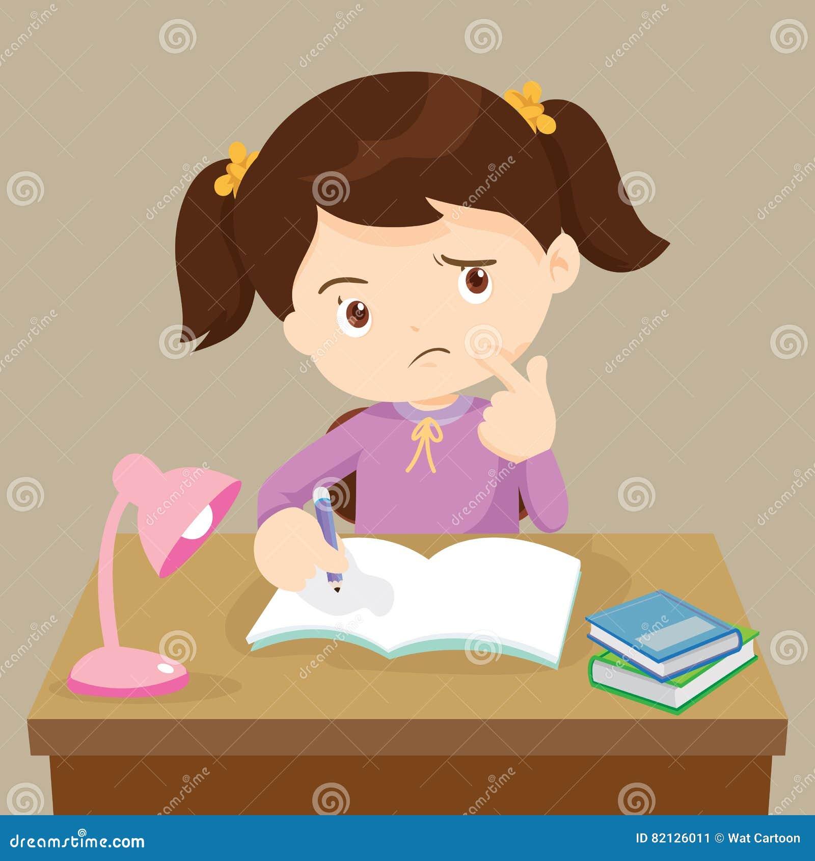 Leuk meisje die het werken aan thuiswerk denken