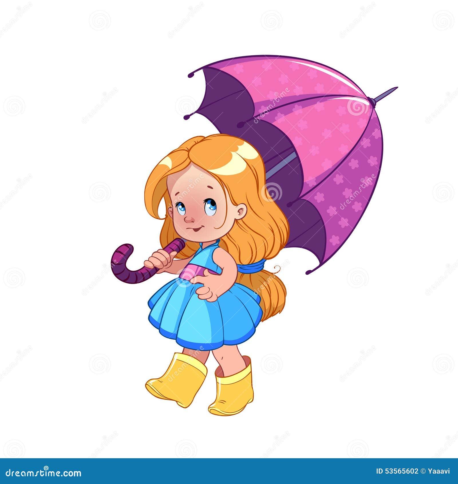 Leuk meisje met paraplu