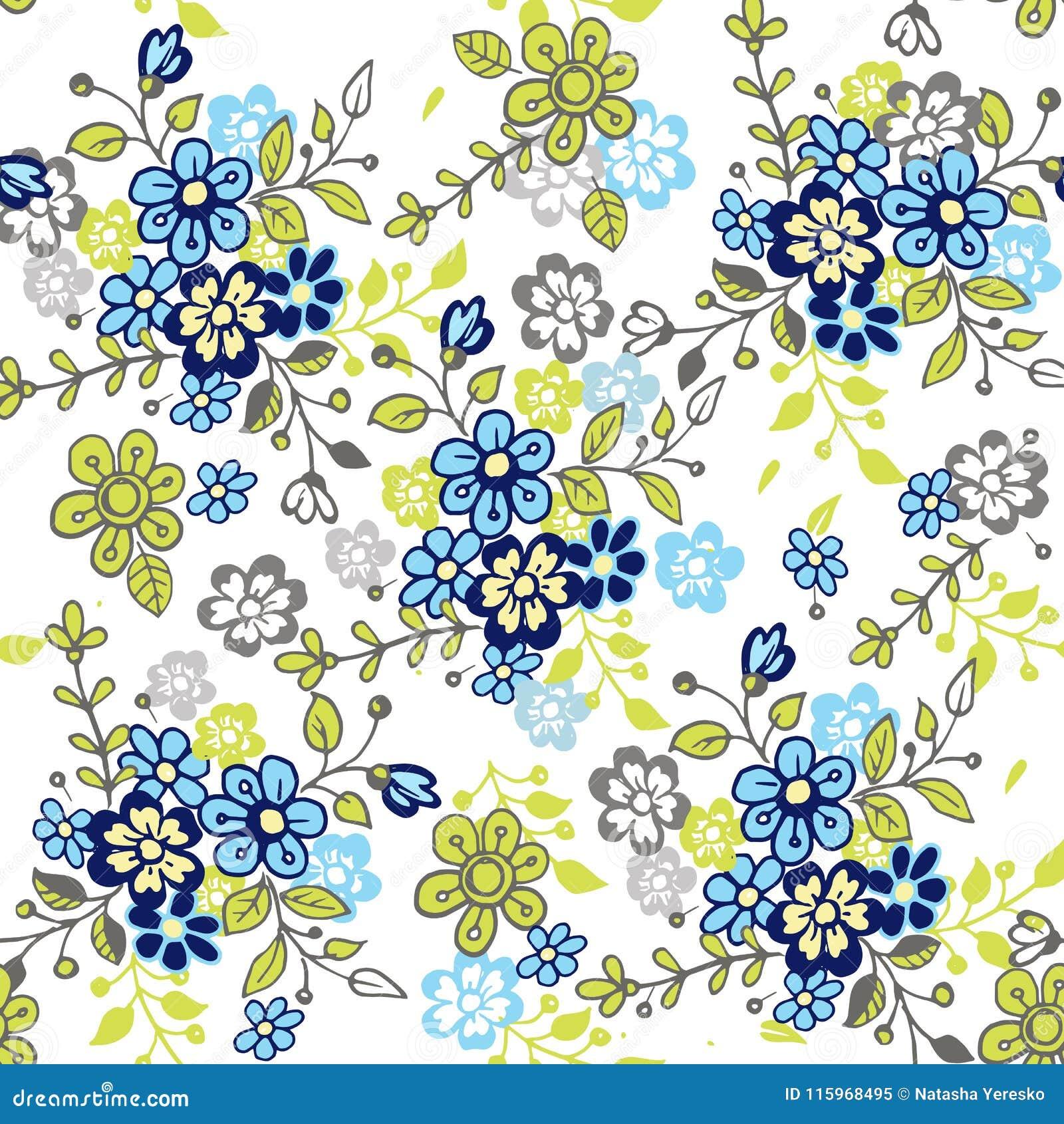 Leuk naadloos bloemenpatroon Getrokken de hand stileerde weinig bloem naadloos patroon Kleurrijke achtergrond voor stof, textiel