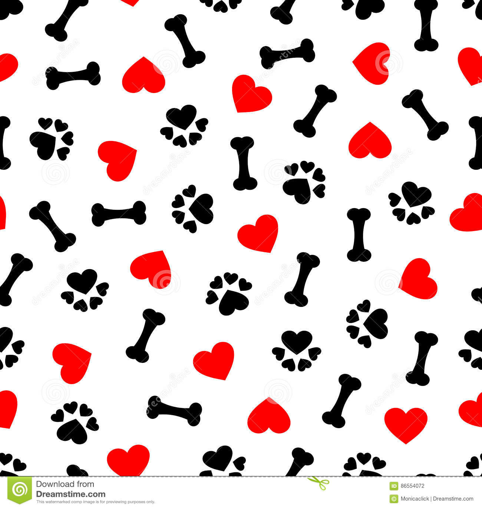 Leuk naadloos patroon met hondbeen, pootdruk en rood hart, transparante achtergrond