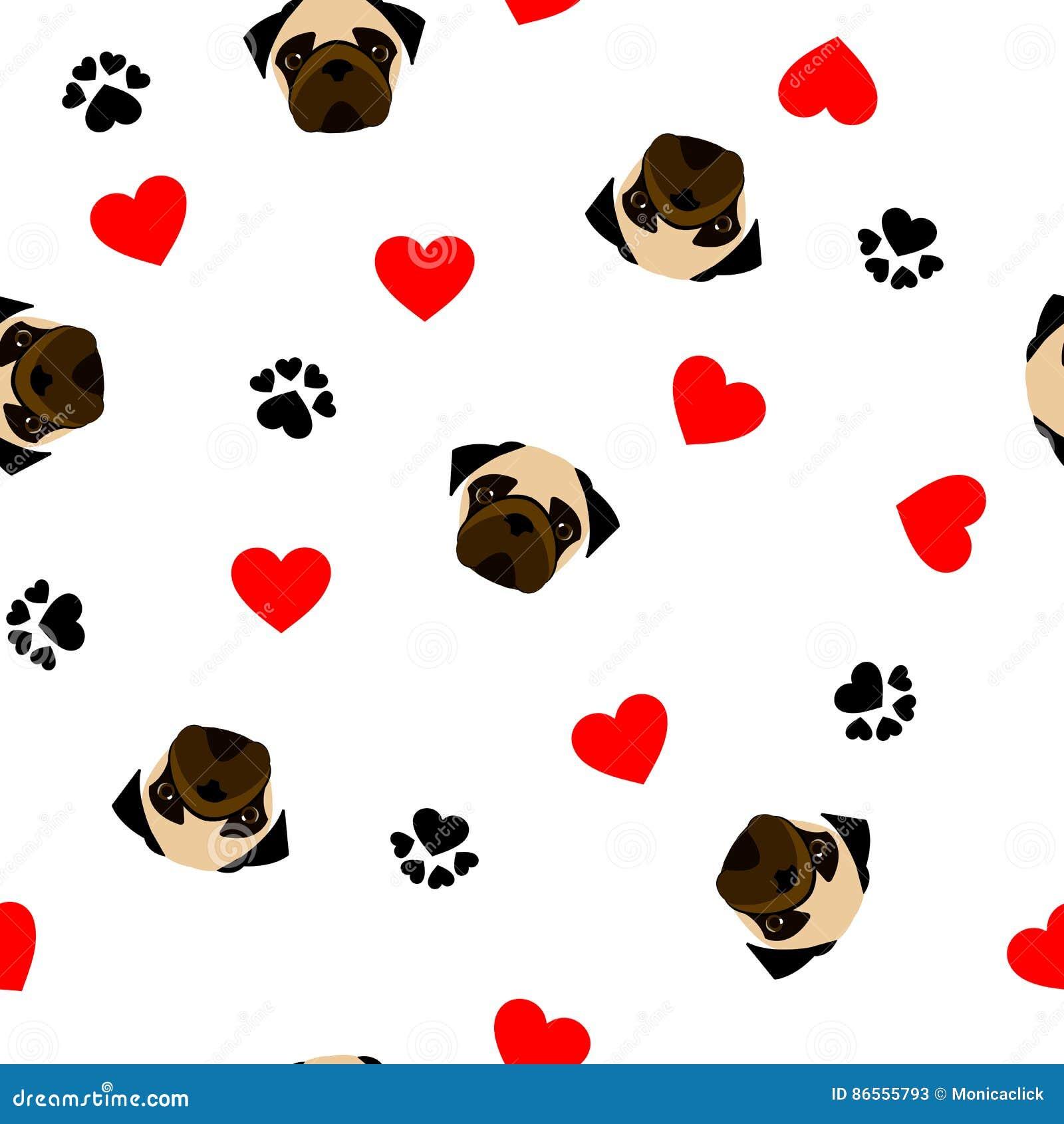 Leuk naadloos patroon met pug hond, pootdruk en rood hart, transparante achtergrond