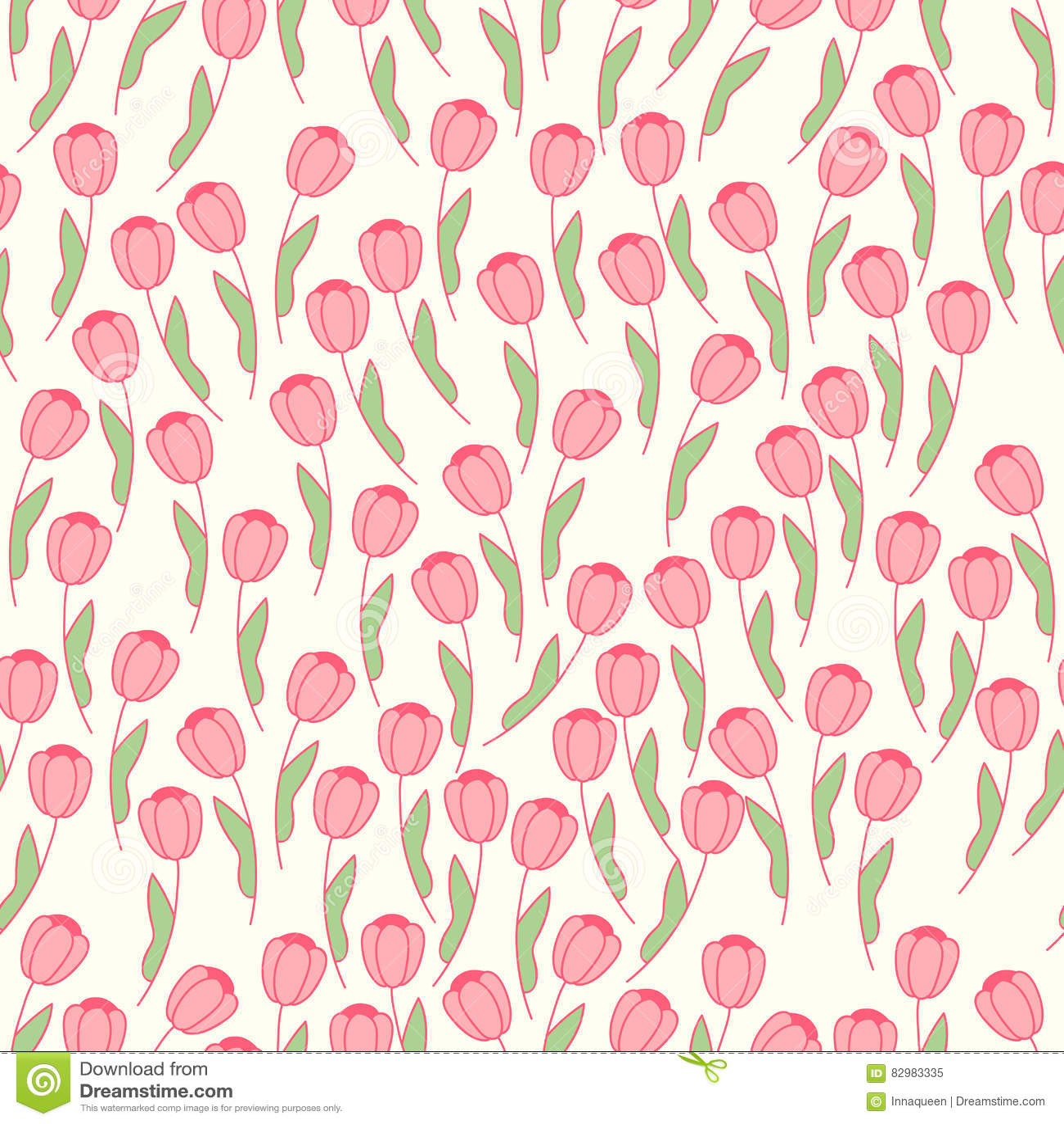 Leuk naadloos patroon met roze tulp op een roomachtergrond naughty