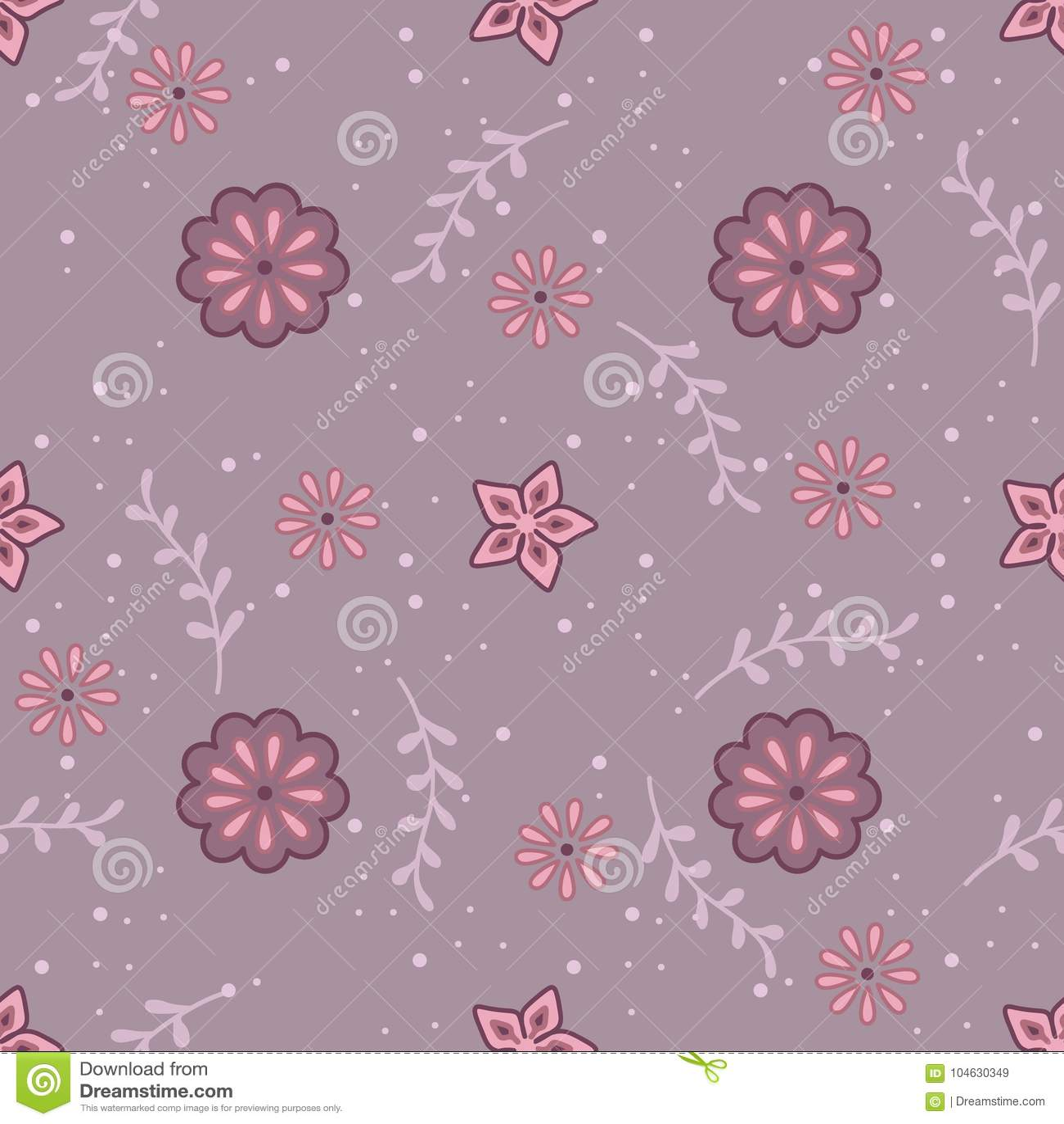 Download Leuk Naadloos Patroon Met Takjes En Bloemen Vector Illustratie - Illustratie bestaande uit ornate, decor: 104630349