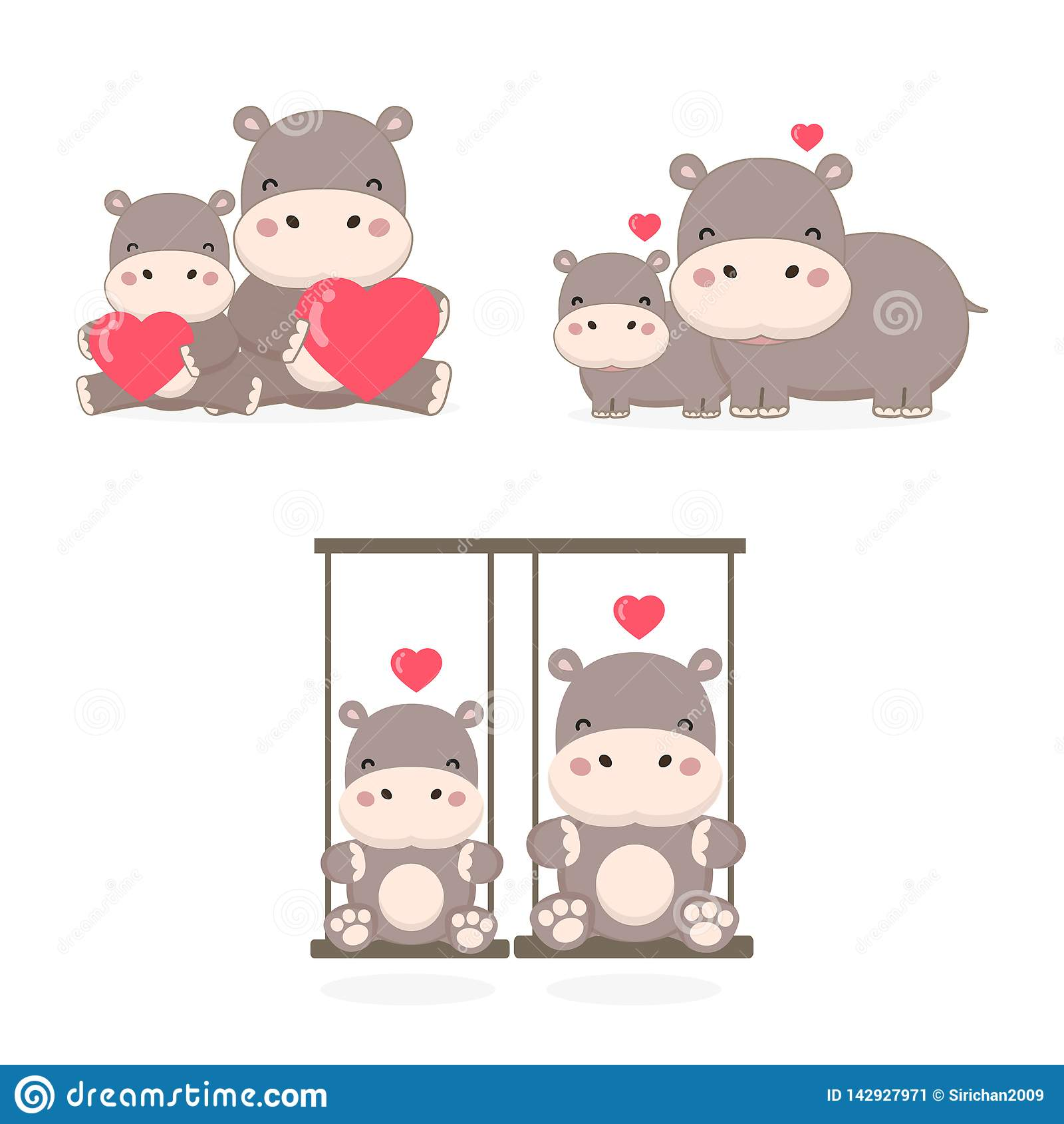 Leuk paar Hippo in liefde