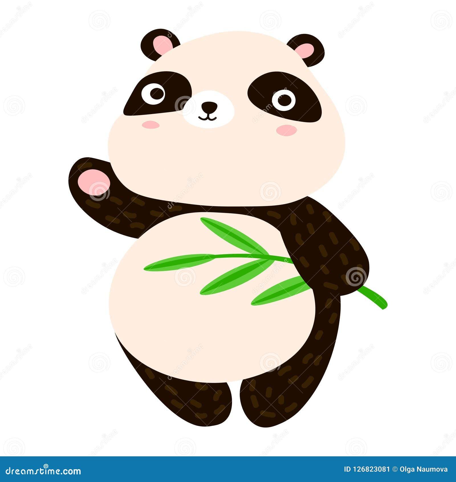 Leuk pandabeeldverhaal Zoete panda die zijn poot golven