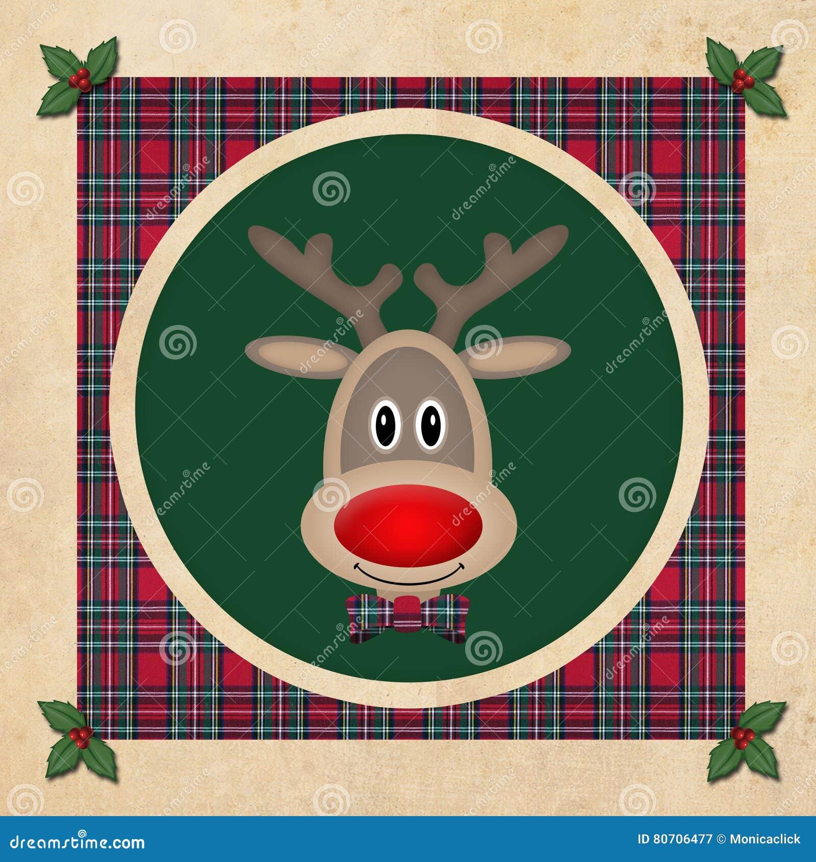 Leuk rendier in groene cirkel met rood plaidpatroon, op oude document achtergrond, het ontwerp van de Kerstmiskaart