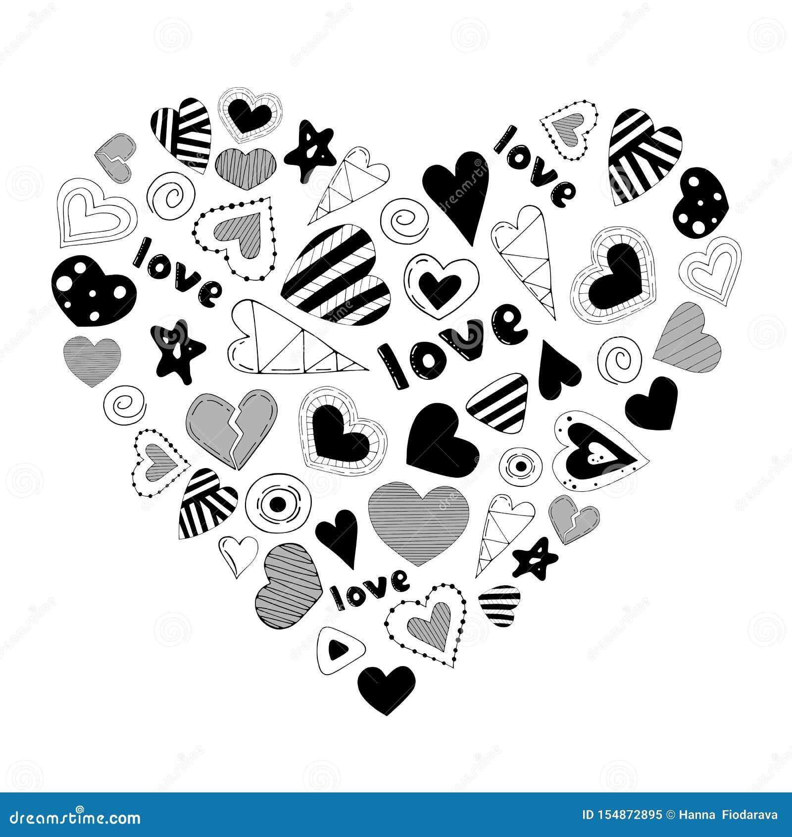 Leuk romantisch die hart van beeldverhaalelementen wordt gemaakt Vector illustratie