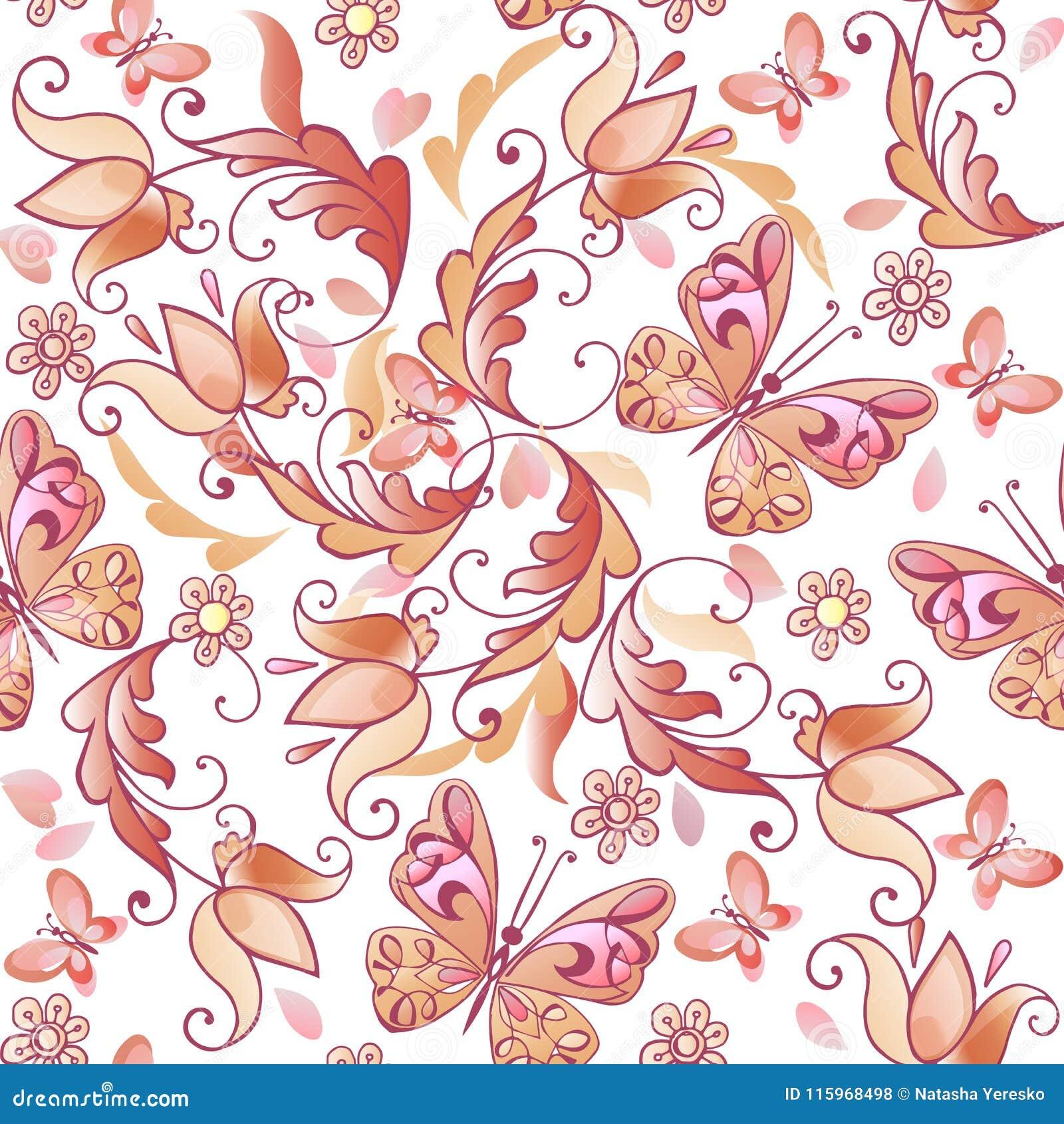 Leuk roze bloemen naadloos patroon met vlinders en harten Vector bloemen naadloos patroon voor groetkaarten, uitnodigingen
