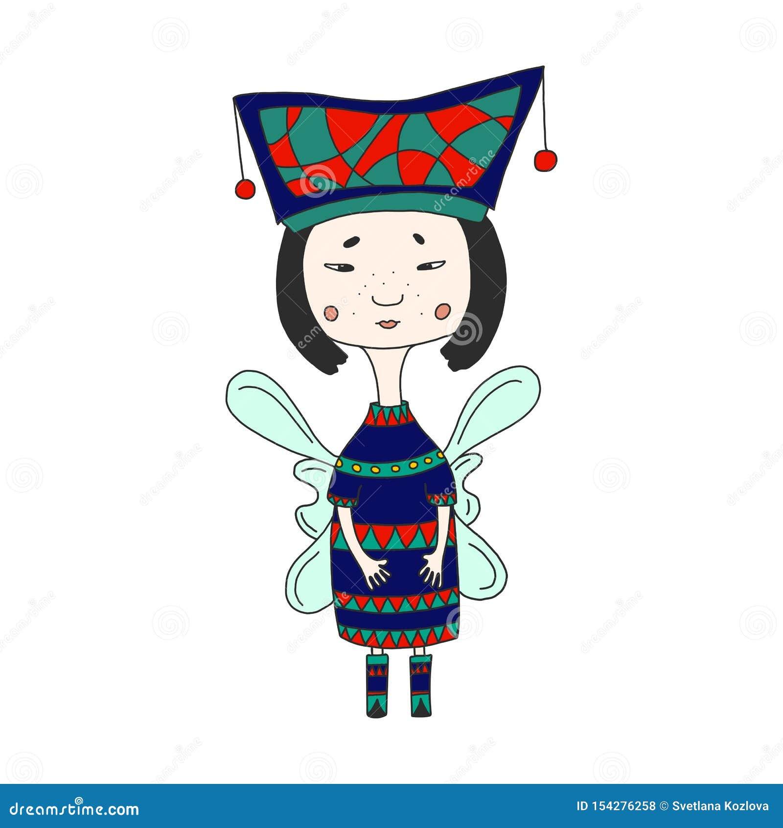 Leuk sprookjekarakter Mooi Oosters meisje in een helder kostuum en vleugels Grappige gevleugelde elfprinses in beeldverhaalstijl