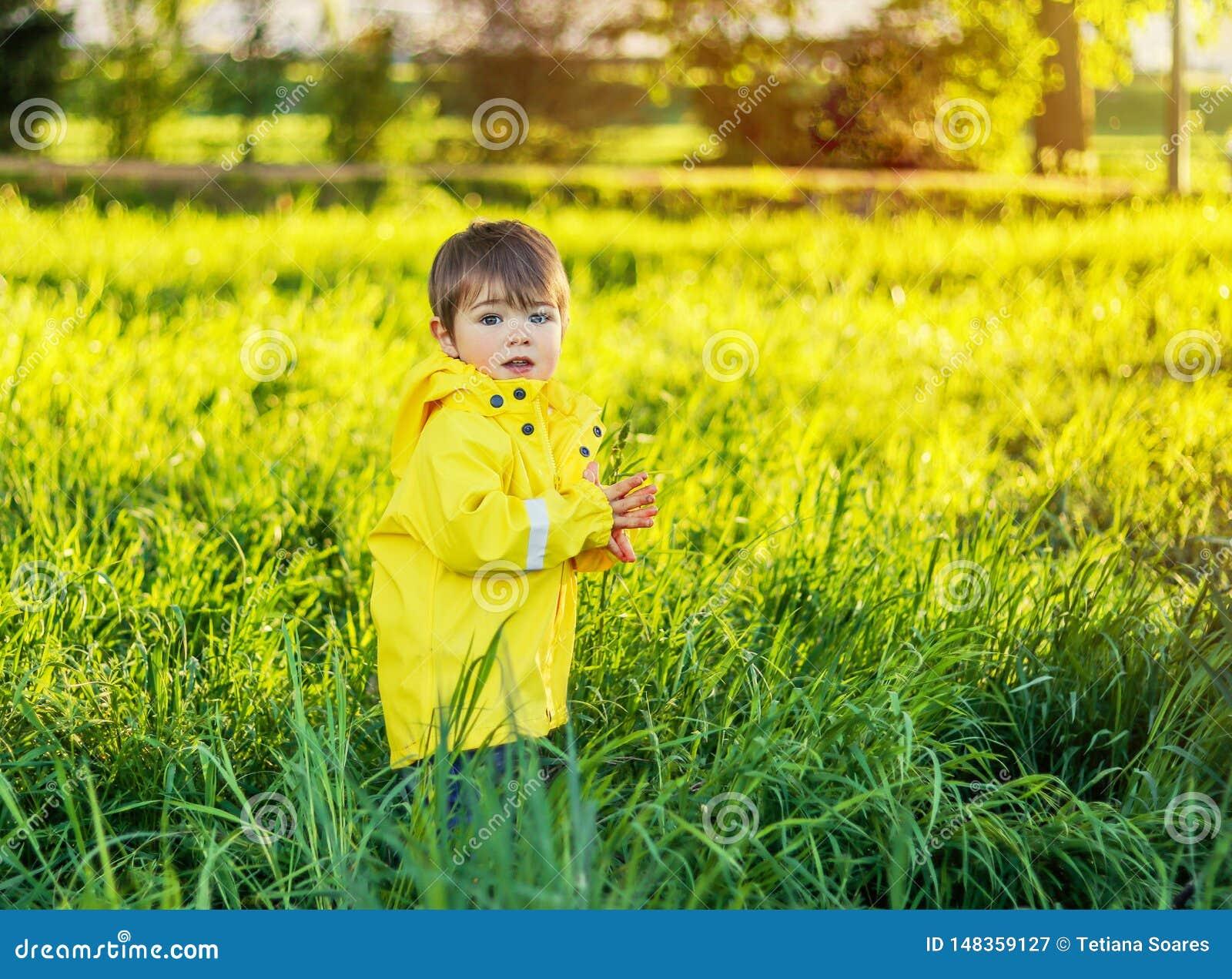 Leuk weinig babyjongen in gele regenjas die op gebied met hoog groen gras blijven
