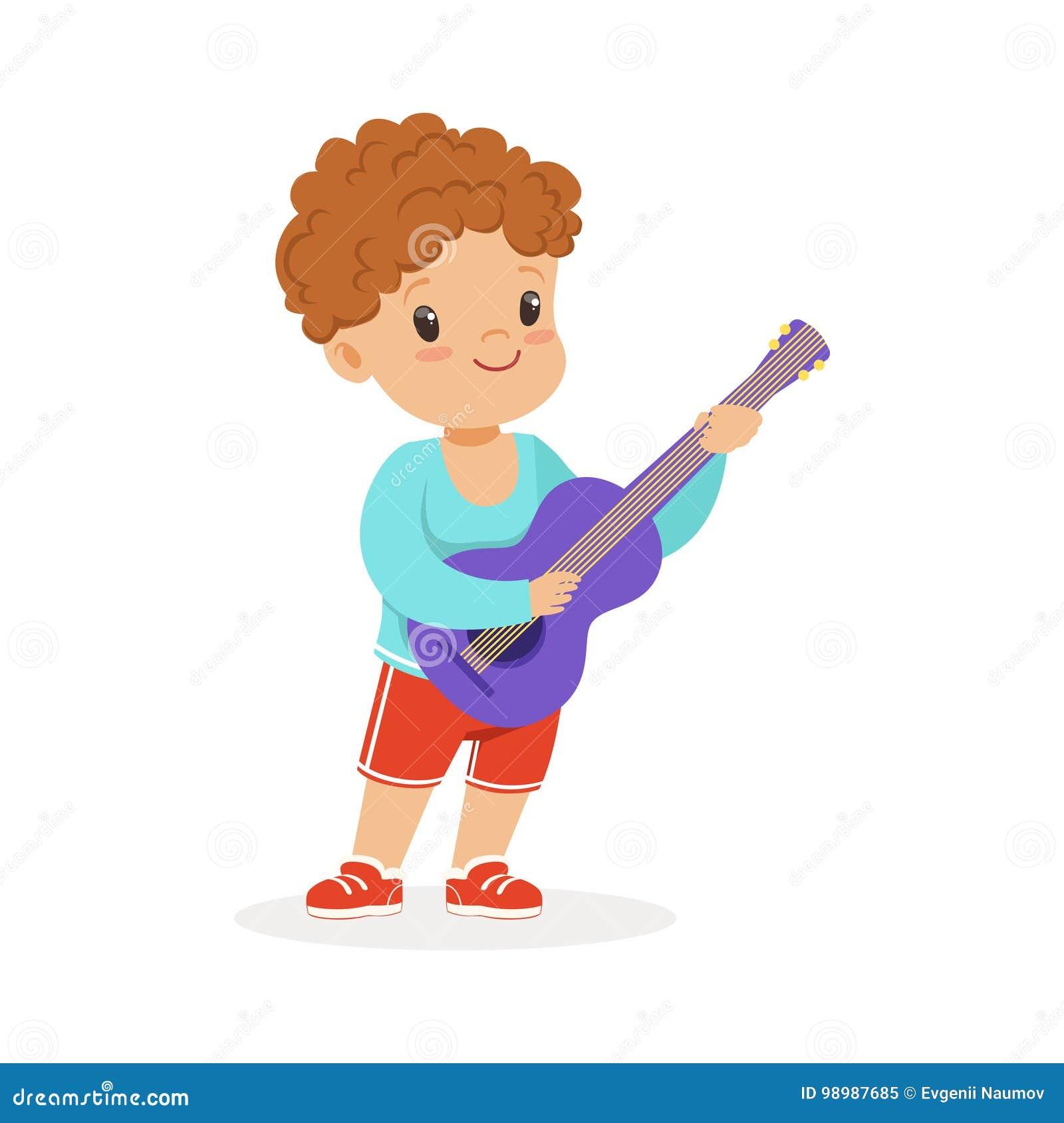 Leuk weinig jongen het spelen gitaar, jonge musicus met stuk speelgoed muzikaal instrument, muzikaal onderwijs voor de vector van