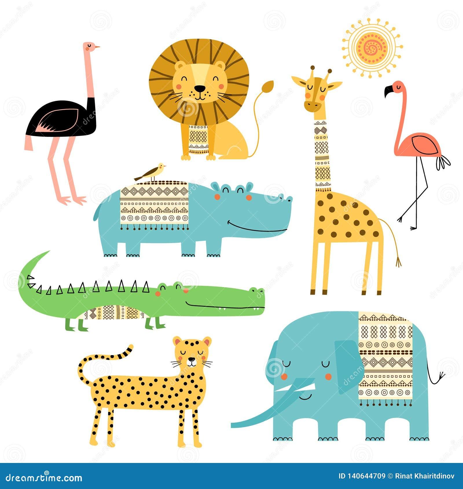 Leuke Afrikaanse Dieren Vectorreeks tekeningen van kinderen Traditionele ornamenten, etnische en stammenmotieven De stijl van de