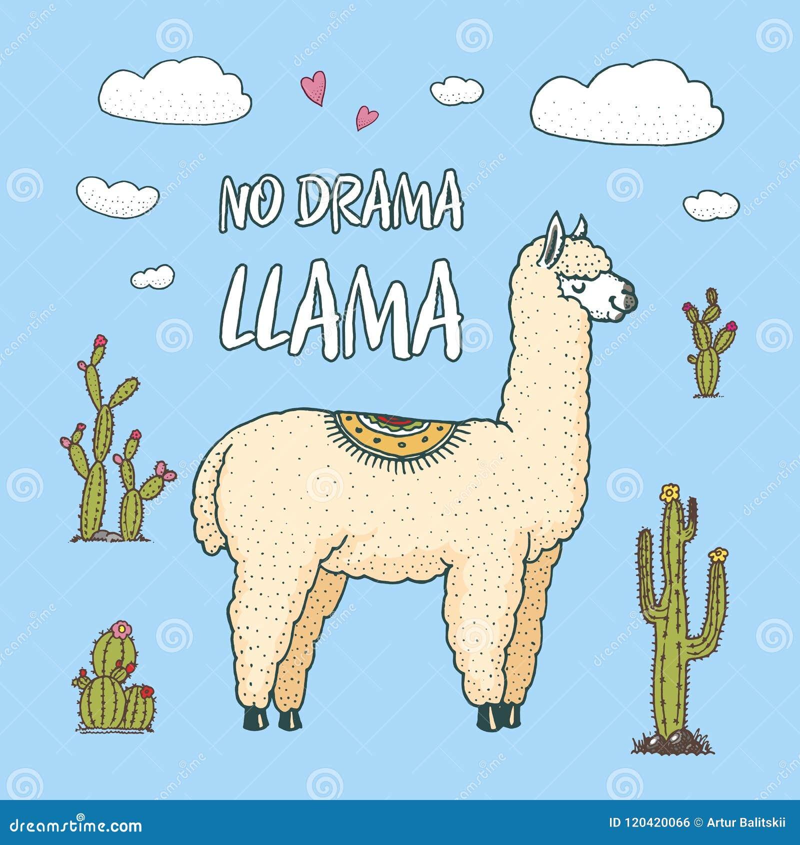 Leuke Alpacalama s of wilde guanaco op de achtergrond van Cactus en berg Grappige het glimlachen dieren in Peru voor kaarten