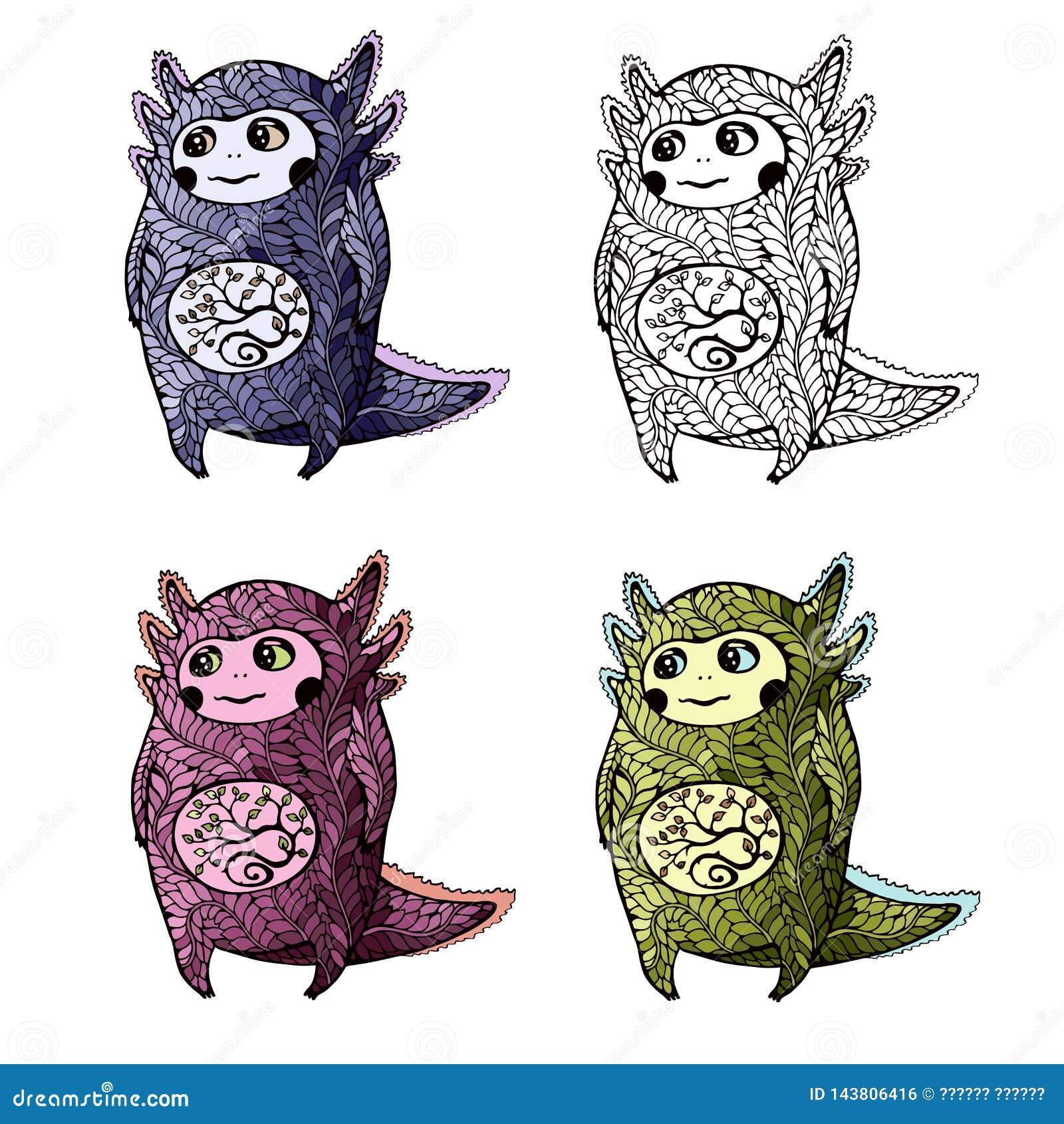 Leuke axolotl voor het kleuren