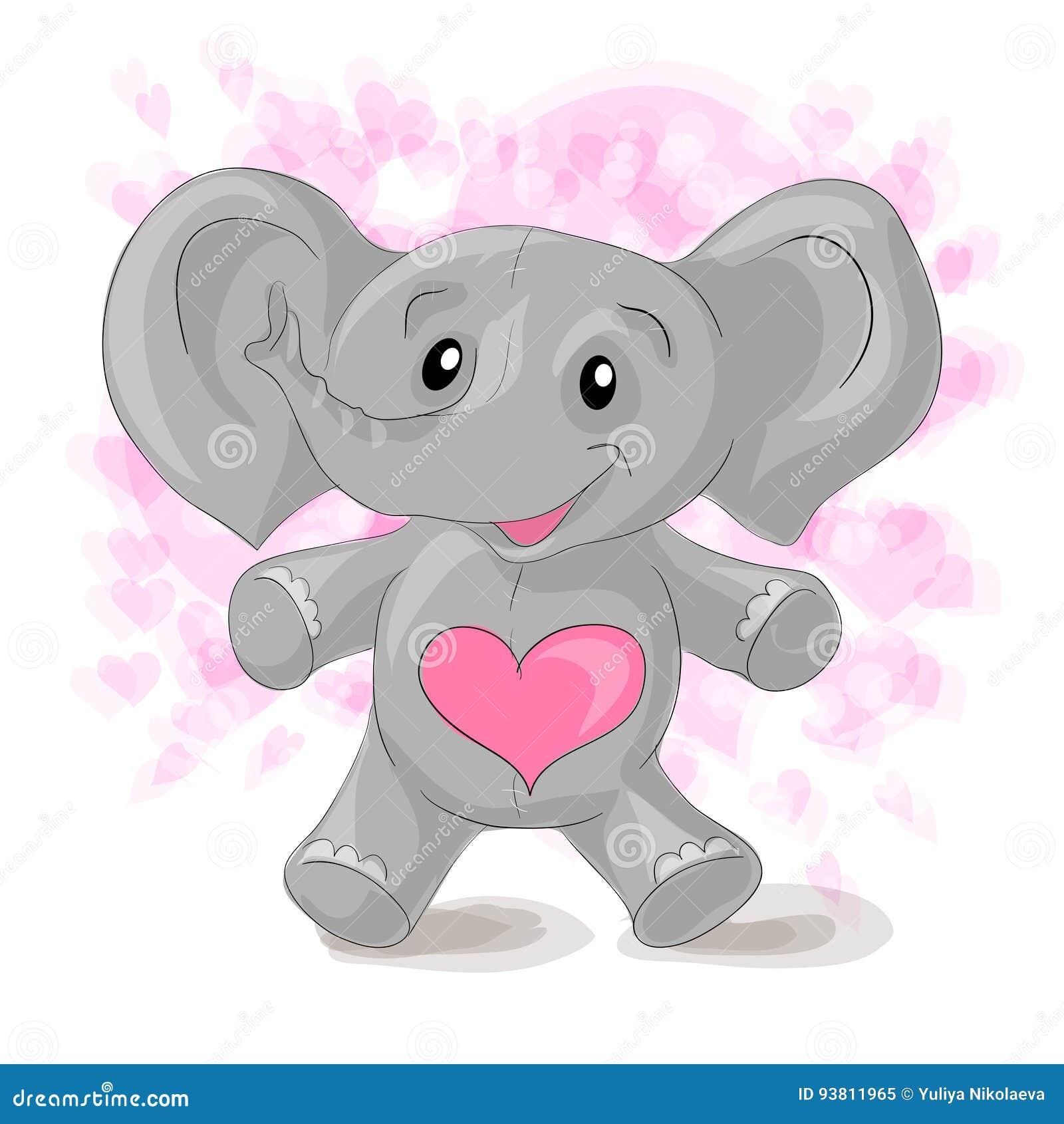 Leuke beeldverhaalolifant met harten