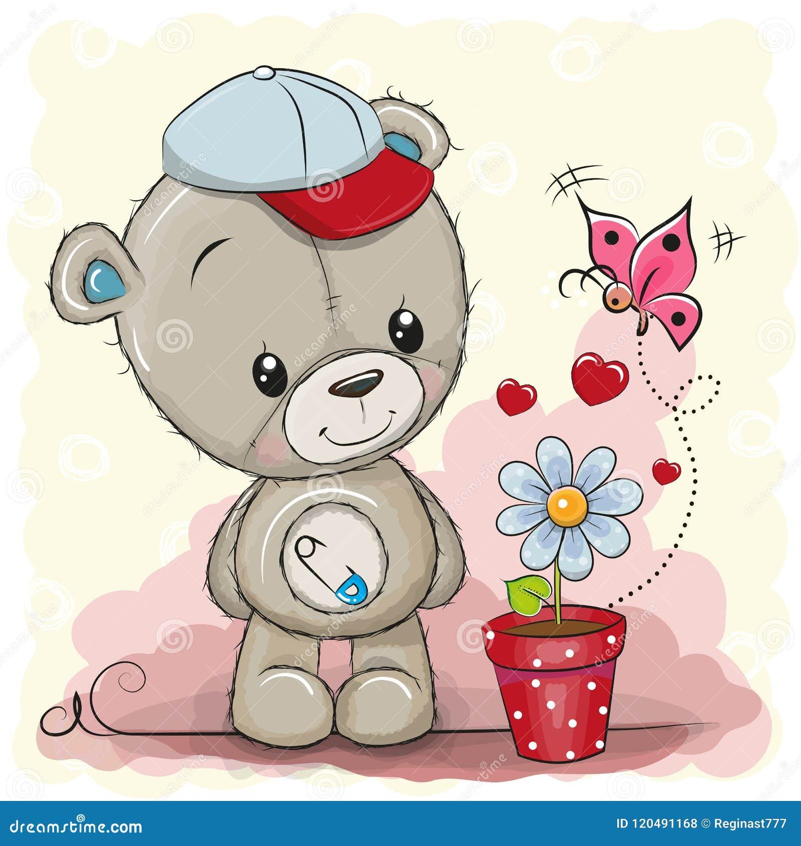 Leuke beeldverhaalteddybeer met bloem