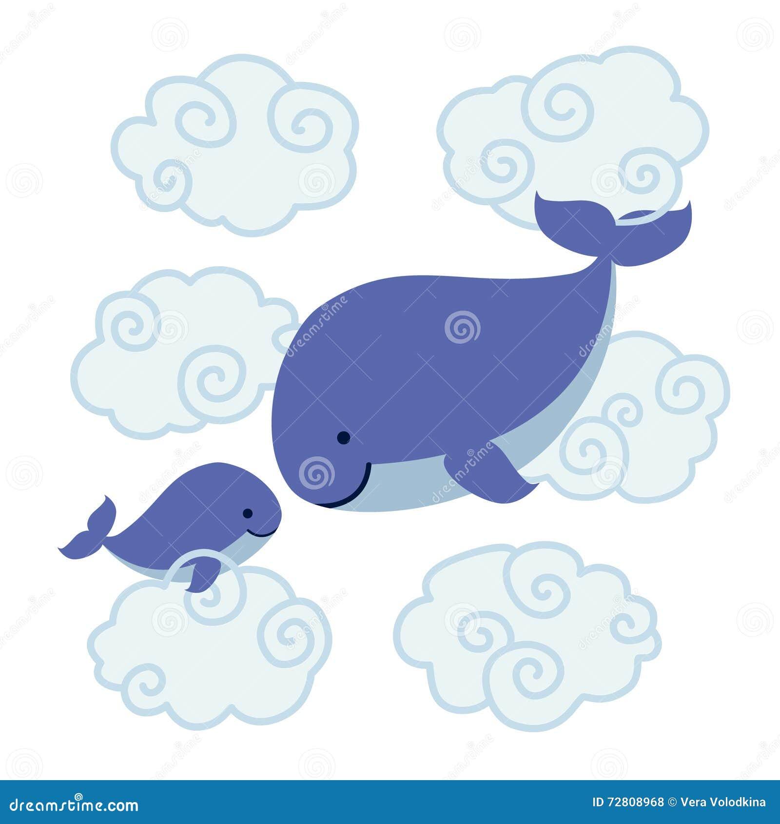 Leuke beeldverhaalwalvissen - moeder en baby in wolken