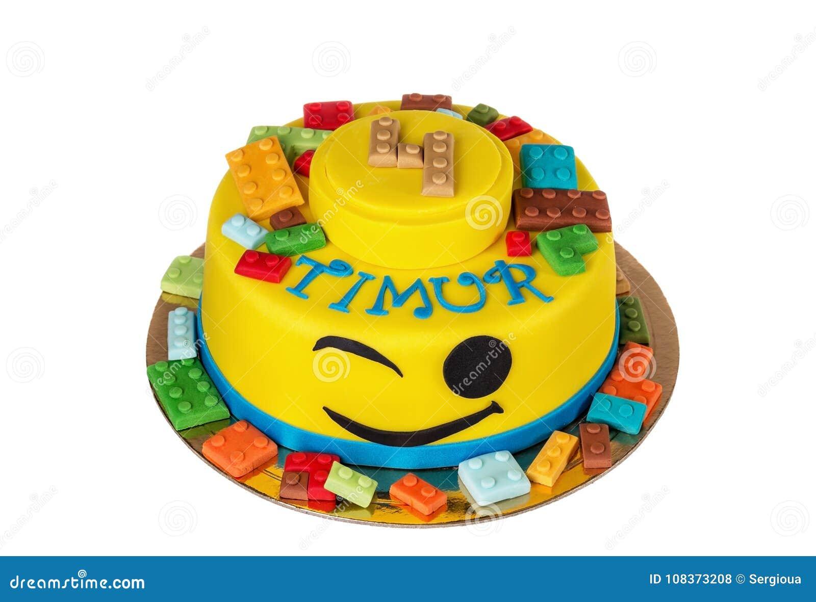 Leuke Cake Van Legopunten Voor Jongen 4 Jaar Stock Foto Afbeelding