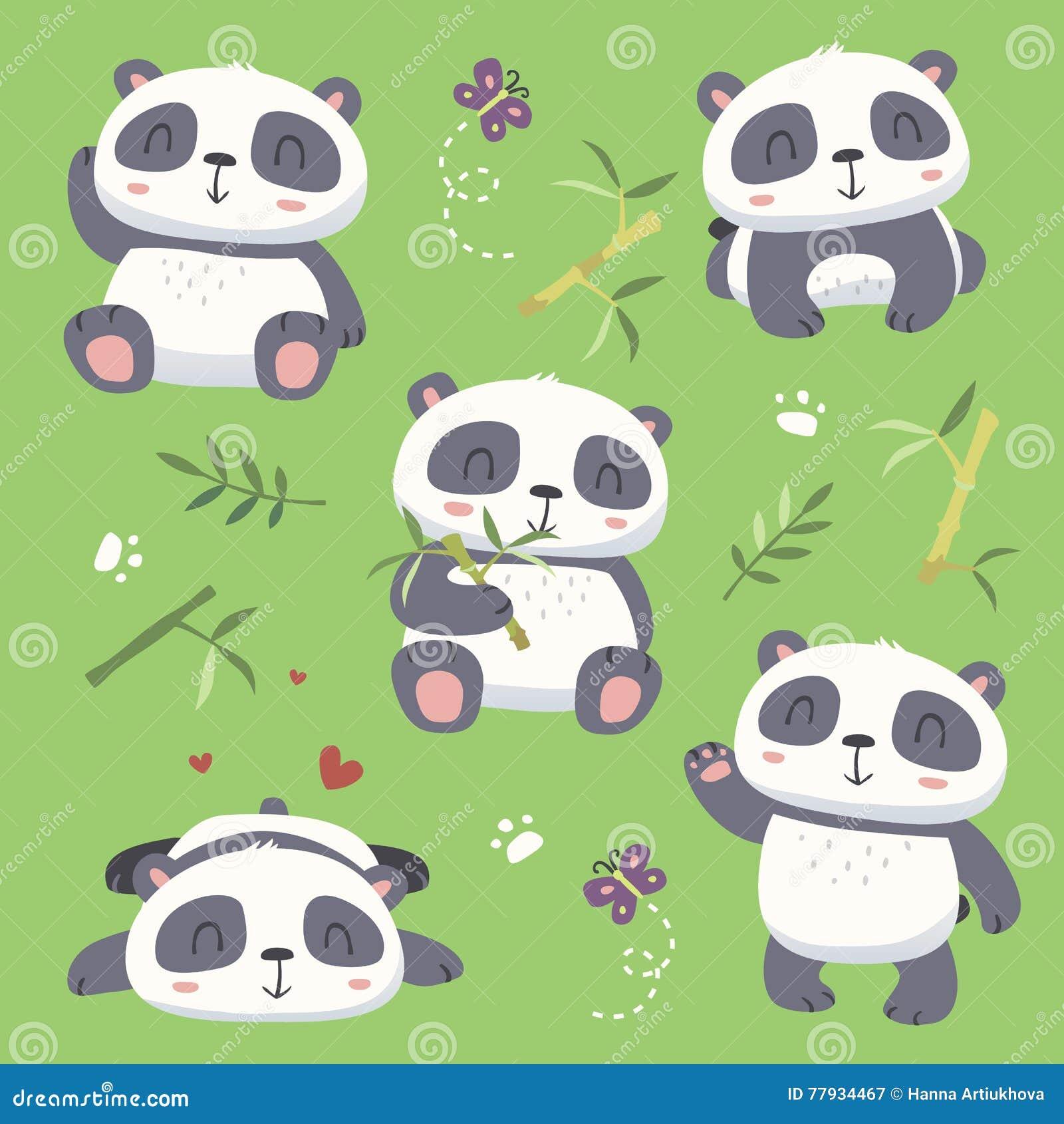 Leuke de pandareeks van de beeldverhaalstijl