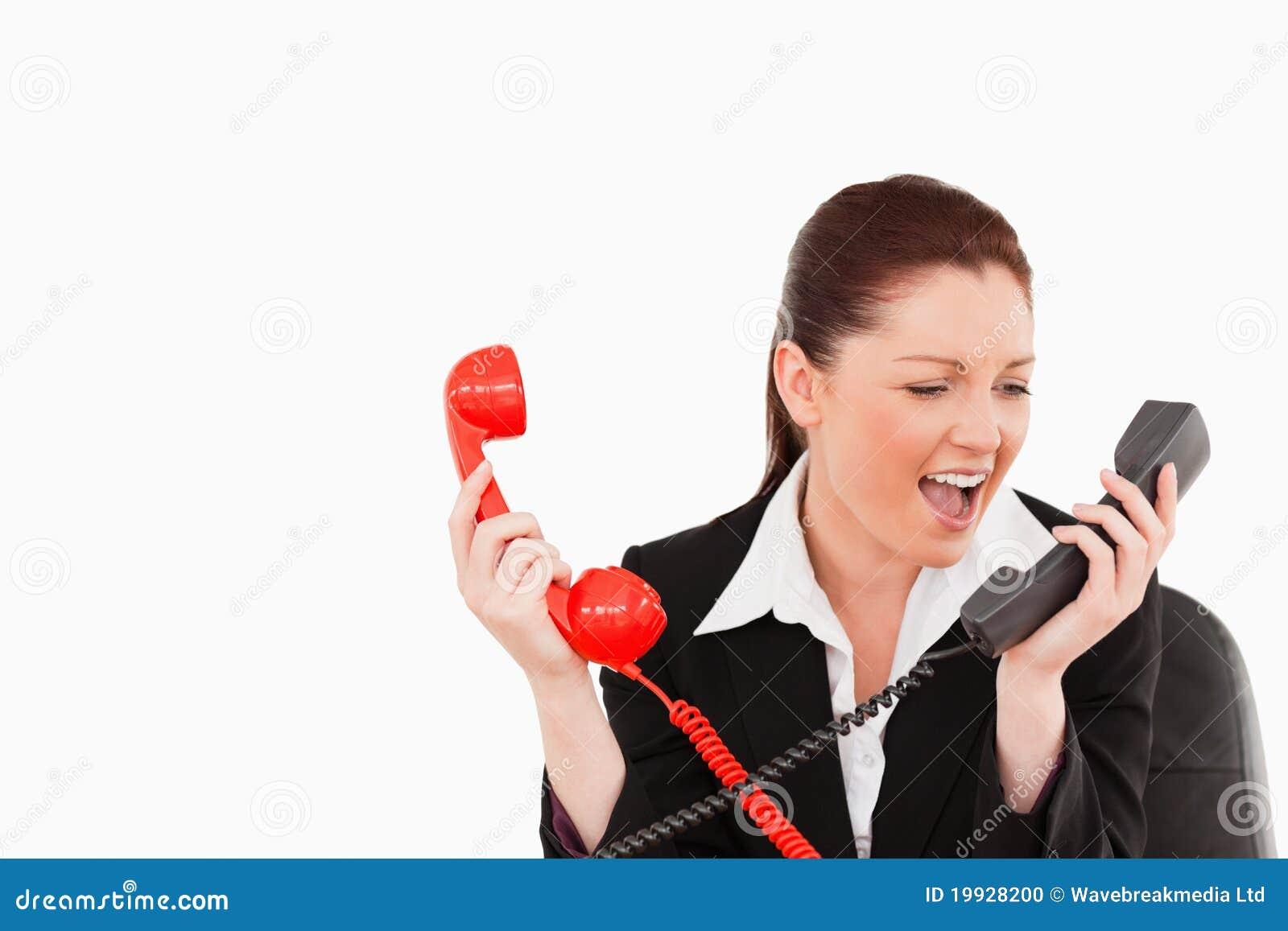 Leuke die gekke secretaresse door de telefoongesprekken wordt gedreven stock foto afbeelding - Secretaresse witte ...