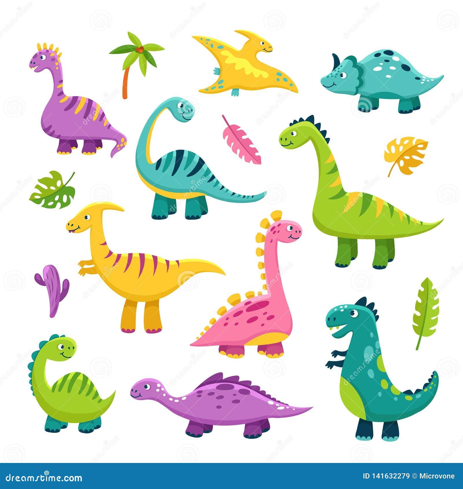 Leuke Dino Van de dinosaurusstegosaurus van de beeldverhaalbaby van de draakjonge geitjes vector van de wilde dierenbrontosaurus