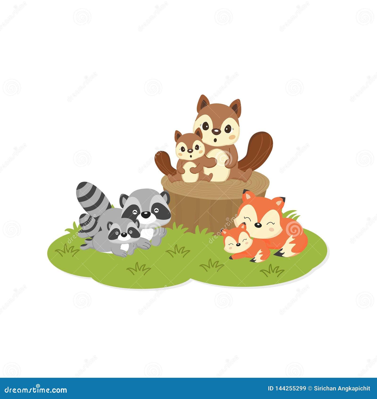 Leuke familie bosdieren Vossen, Wasberen, Eekhoornsbeeldverhaal