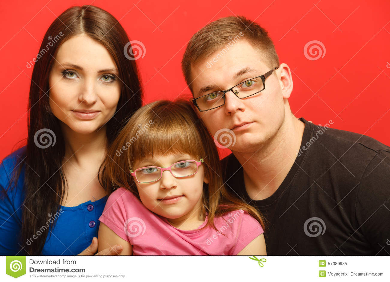 Leuke familie van drie gezichtsportret