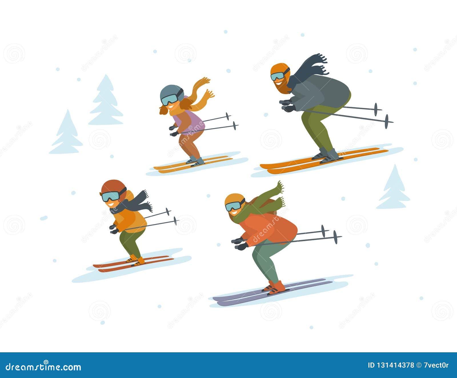 Leuke geïsoleerde vector de illustratiewintersporten beeldverhaal van de familie die bergaf ski?en