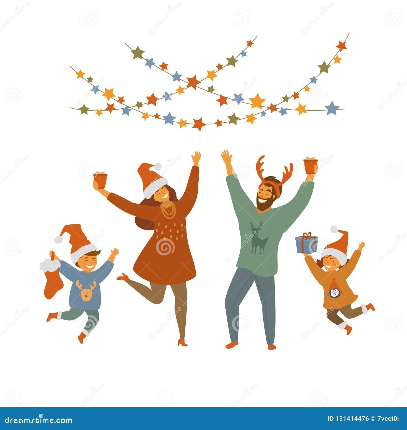 Leuke gelukkige pretfamilie het vieren Kerstmis geïsoleerde vectorillustratie