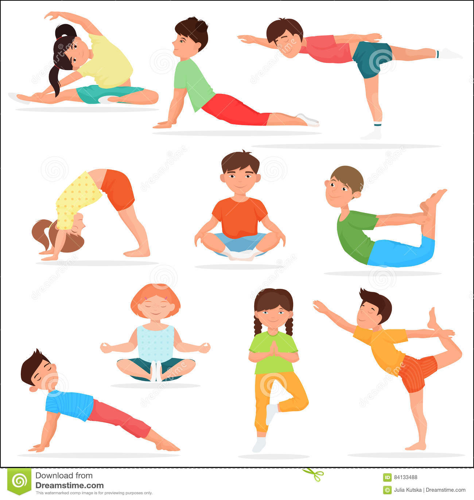 Leuke geplaatste yogajonge geitjes De gymnastiek vectorillustratie van de kinderenyoga