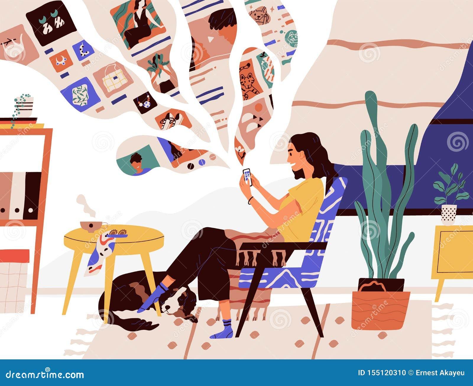 Leuke grappige meisjeszitting in leunstoel op z n gemak en surfend Internet op haar smartphone Het glimlachen het jonge vrouw soc