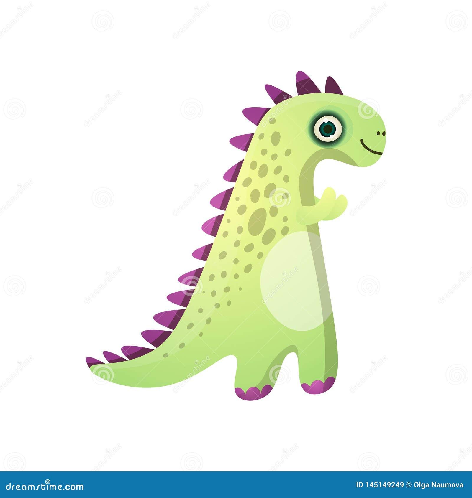 Leuke groene het glimlachen dinosaurus met violette platen van voorhistorisch